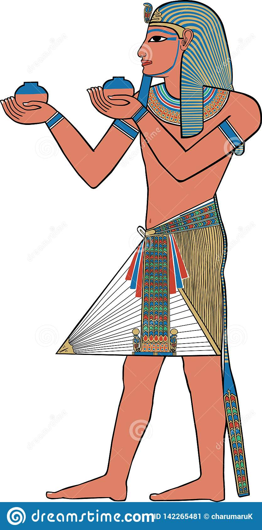 Forntida egyptisk väggmålning, illustration av en konung