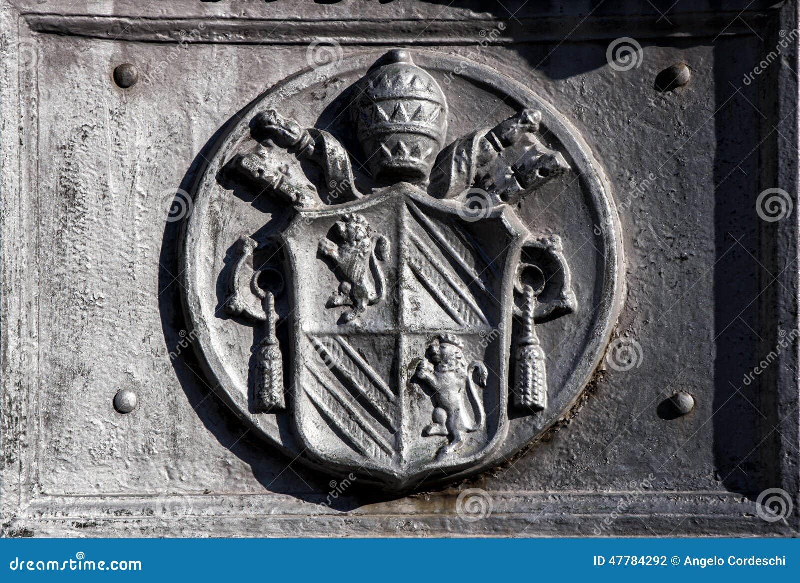 Forntida emblem av Vaticanet City i Rome (Italien)