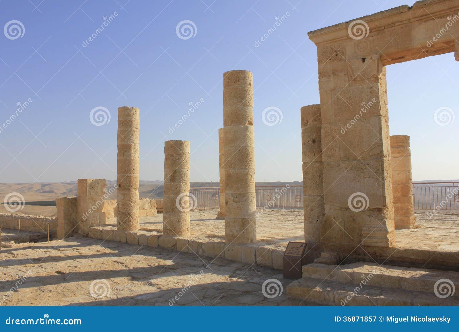Forntida fördärvar av Avdat, den Nabatean staden