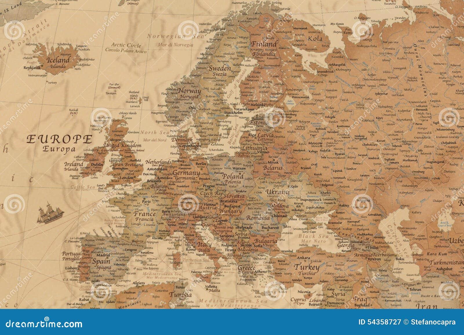 Forntida geografisk översikt av Europa