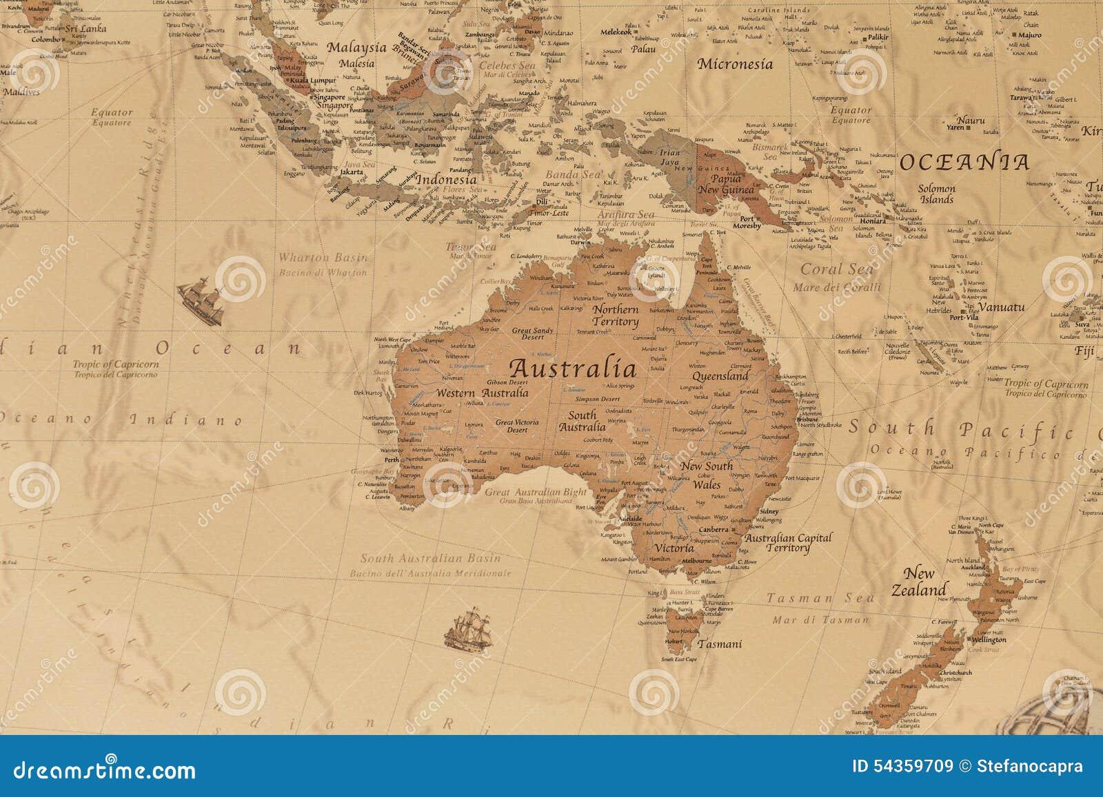 Forntida geografisk översikt av Oceanien