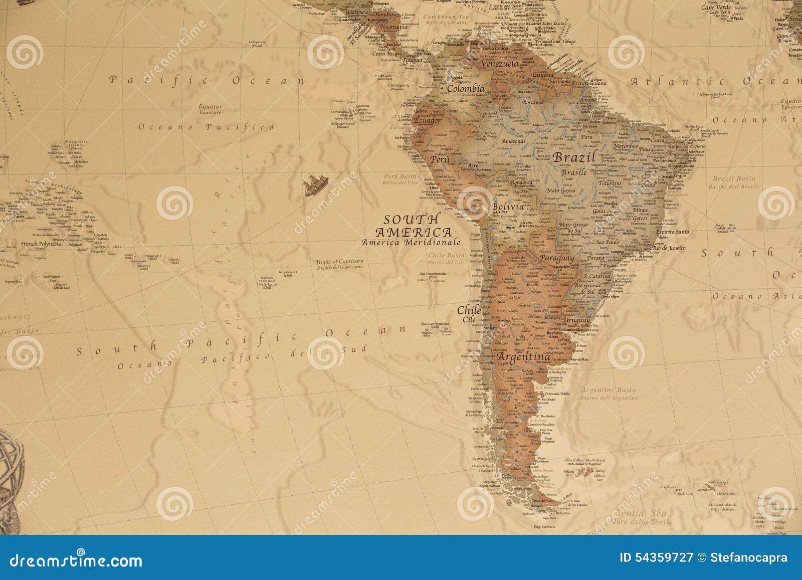 Forntida geografisk översikt av Sydamerika