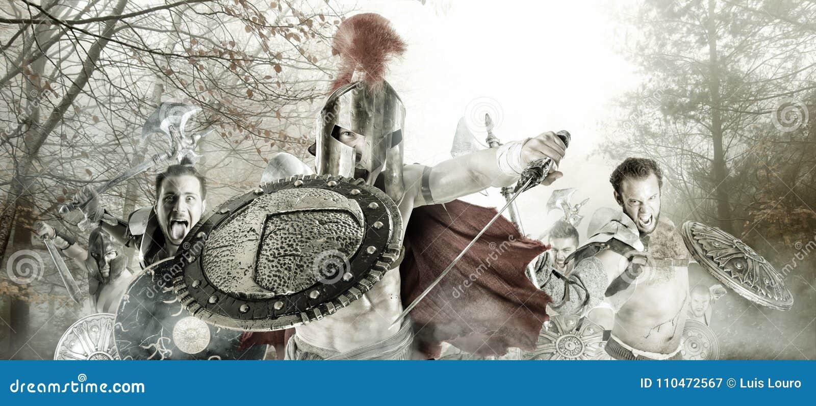 Forntida krigare/gladiatorer som är klara att slåss