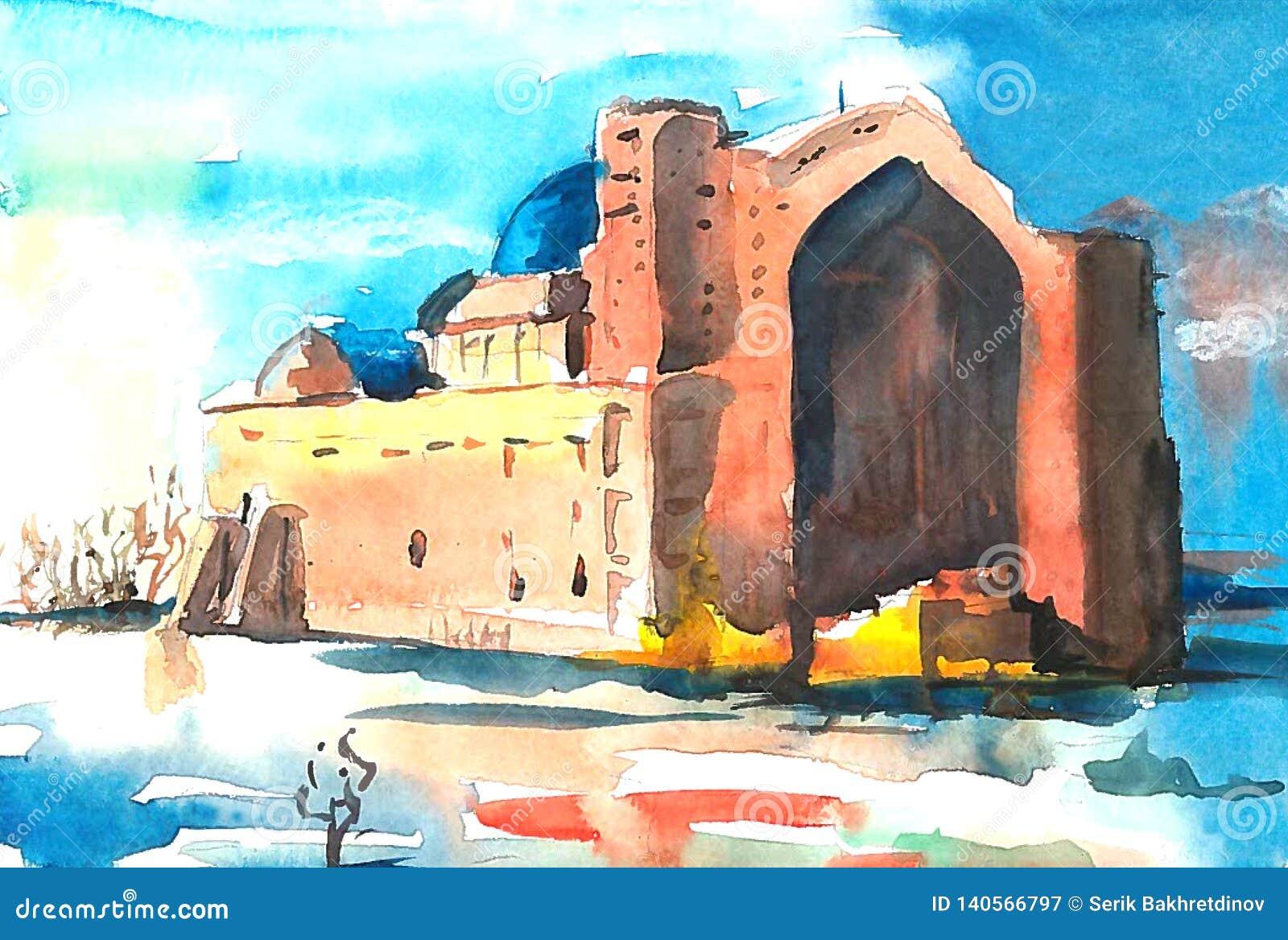 Forntida mausoleum mot den blåa himlen