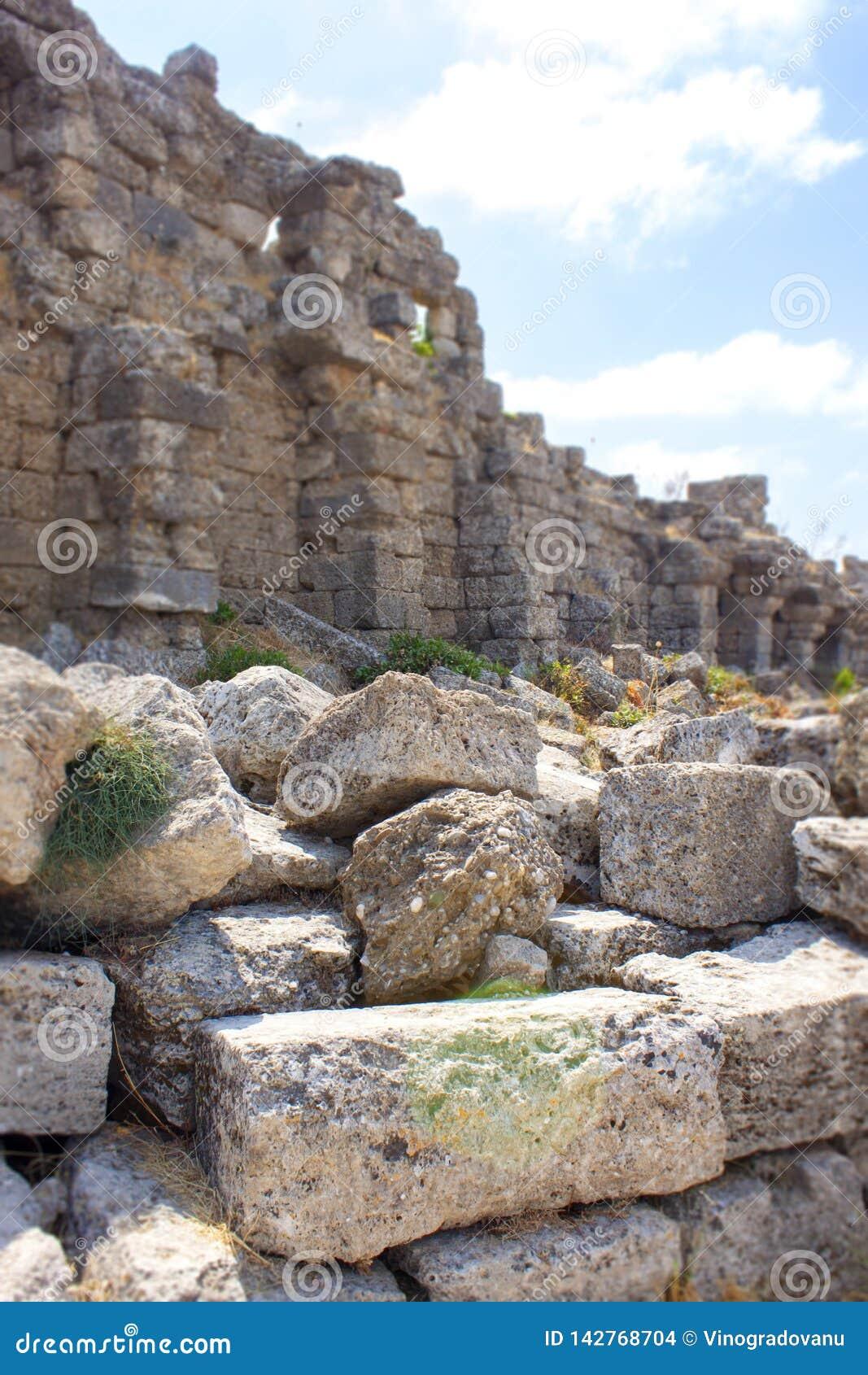 Forntida sida Väggen och fördärvar landmark kalkon