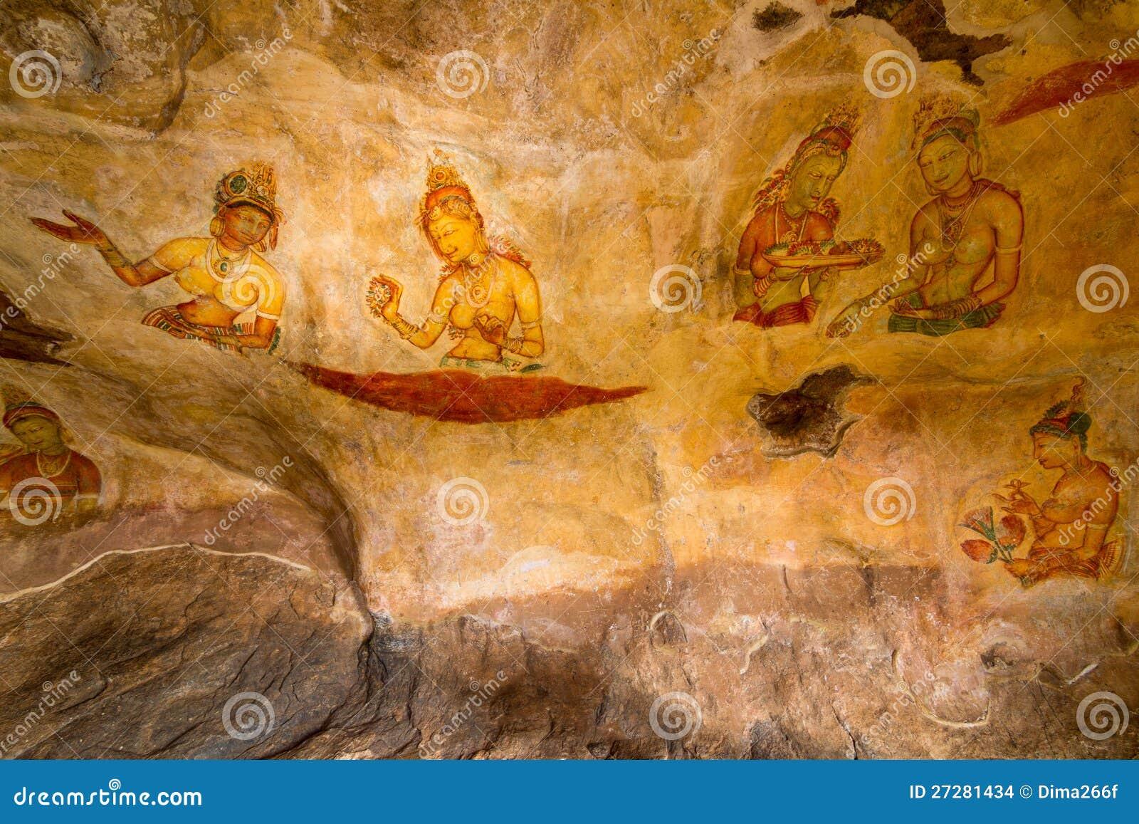 Forntida Sigiriya för väggmålningar lions slott för rock