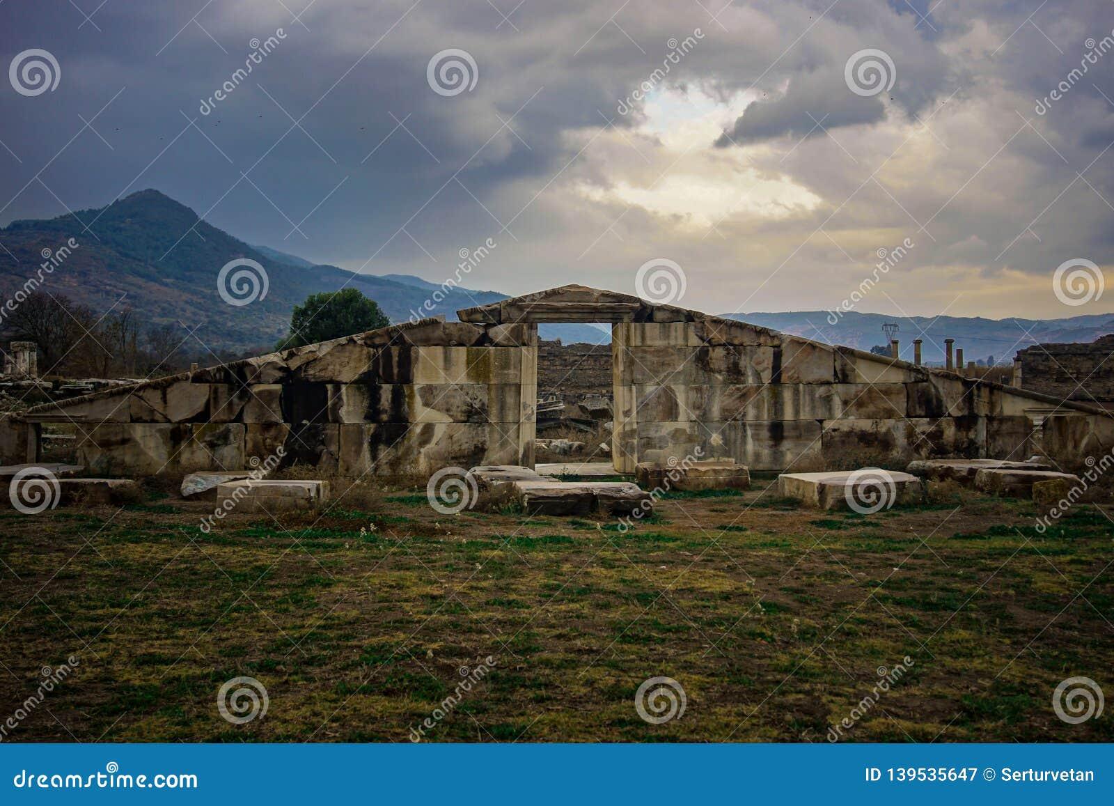 Forntida stad för magnesia, portdetalj Magnesium och Maeandrum Manisa Turkiet