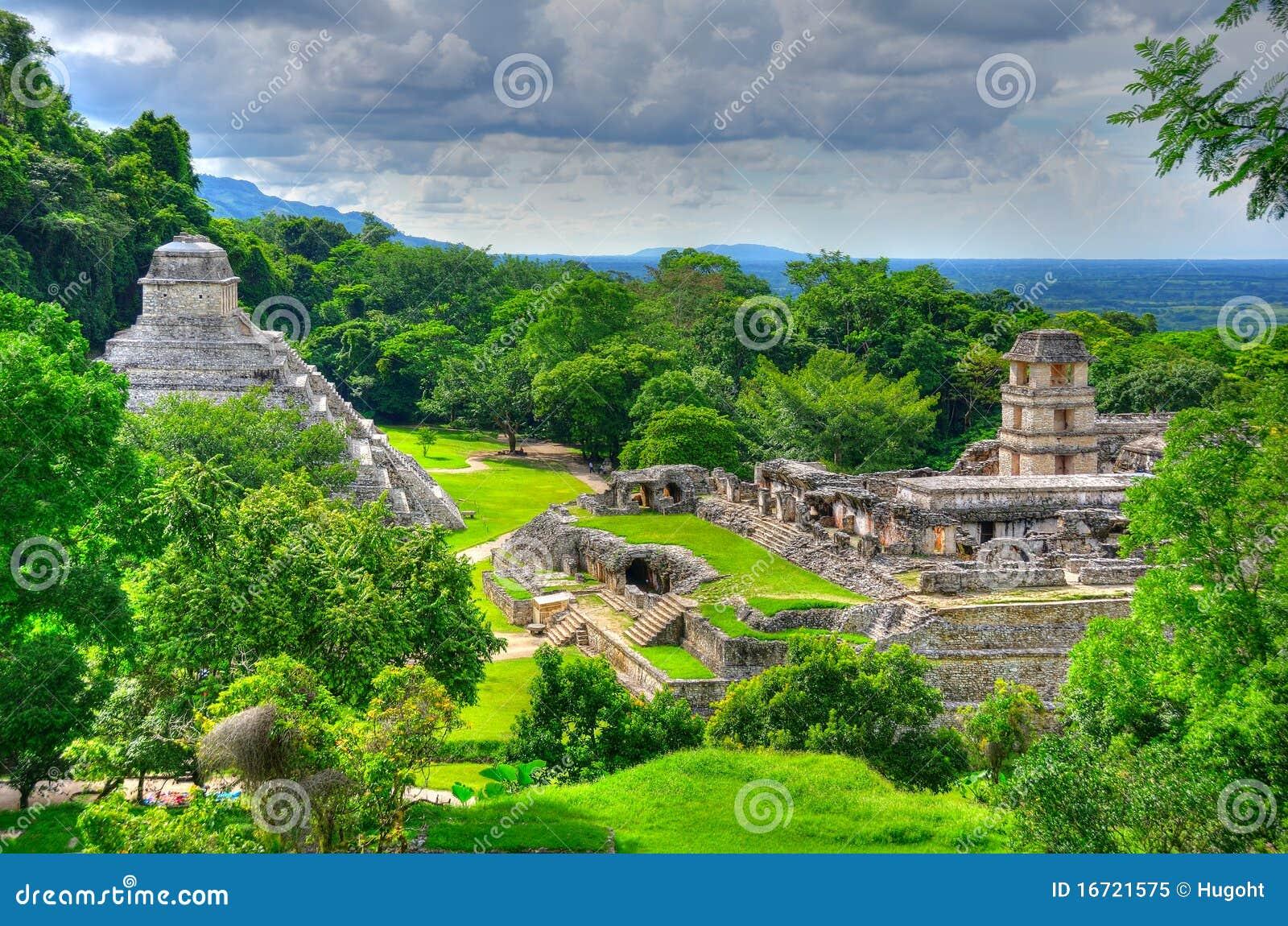 Forntida tempel för mayamexico palenque