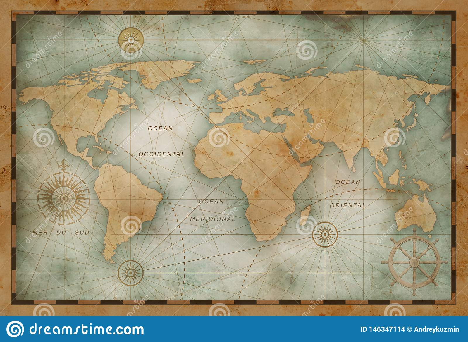 Forntida världskartaillustration som baseras på bilden som möbleras av NASA