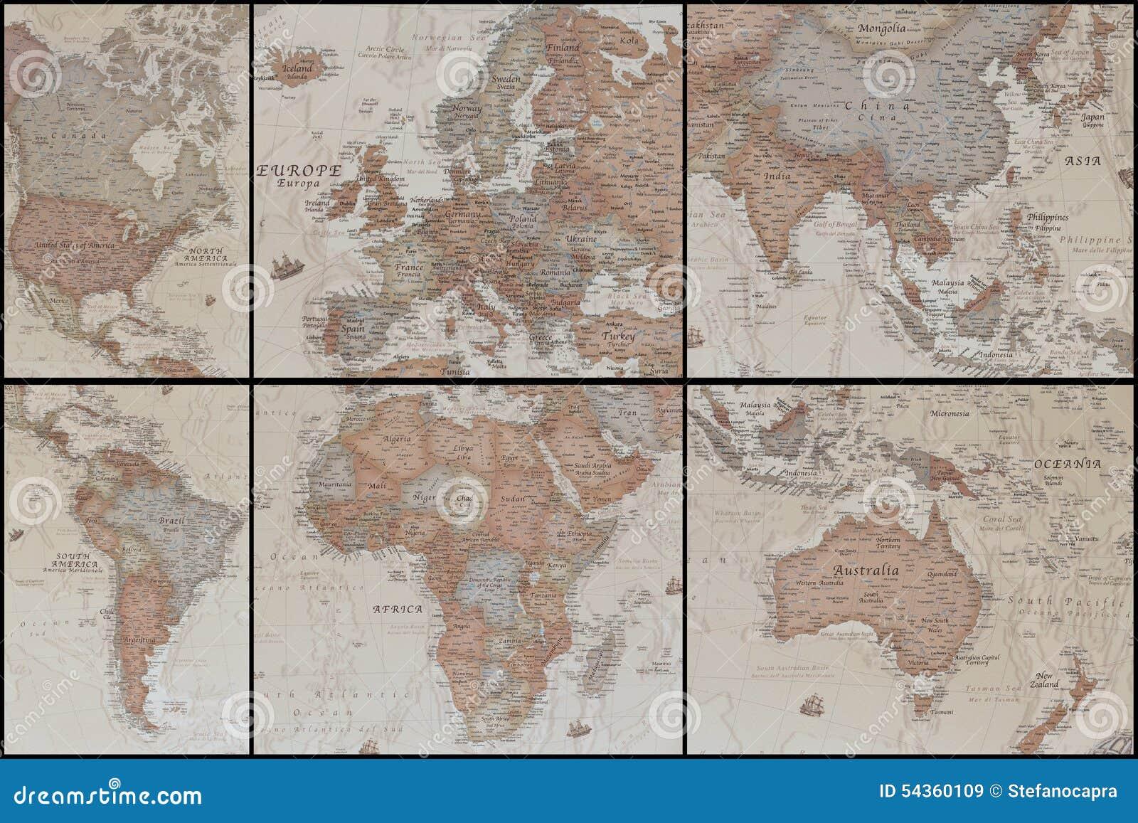 Forntida världskartas collage