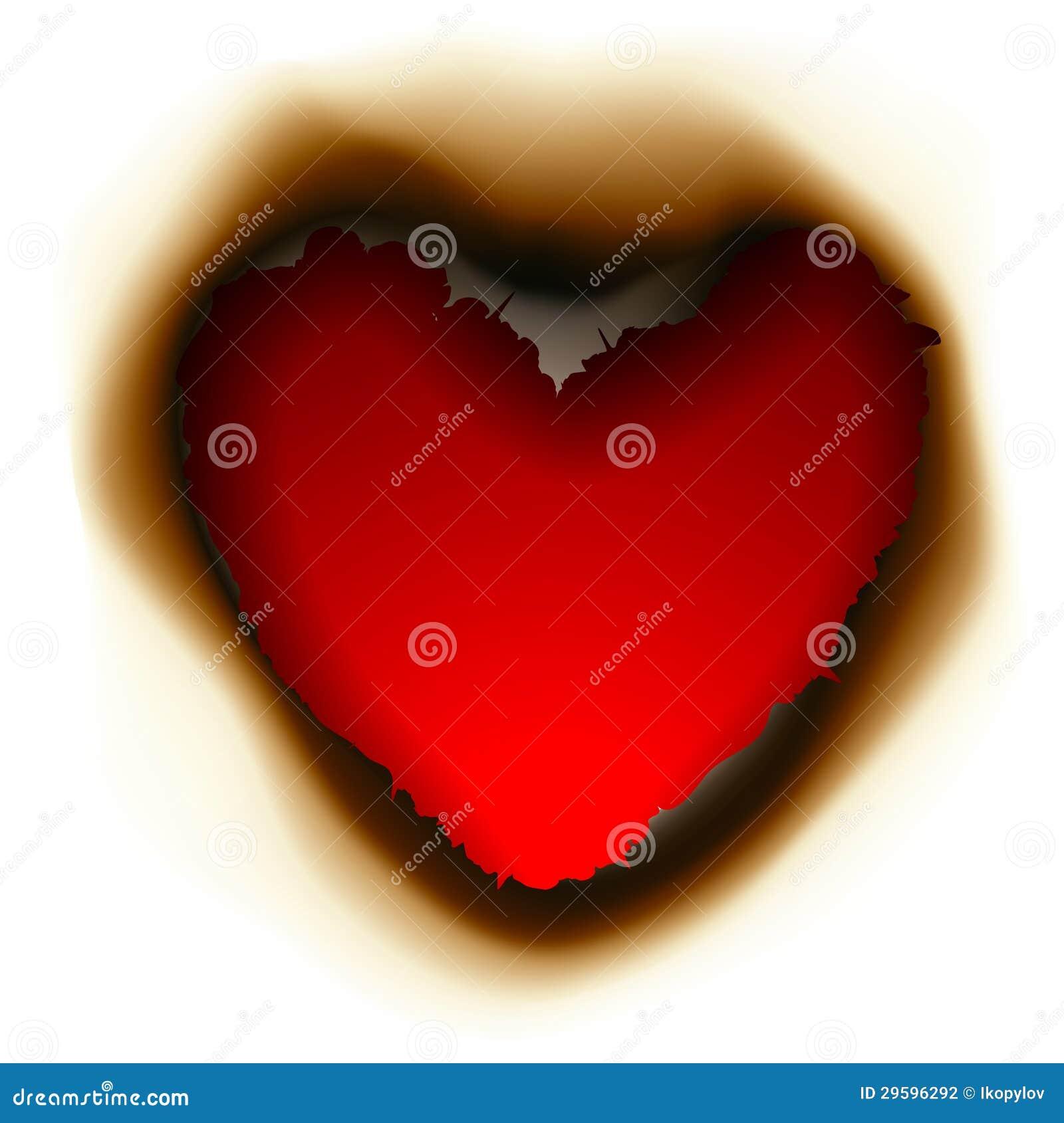 Foro bruciato nella forma di cuore