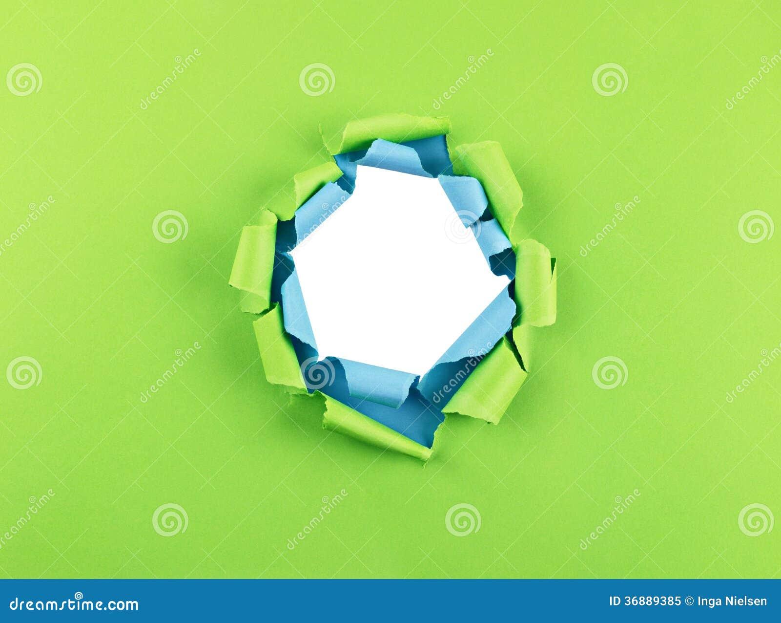 Download Foro in carta verde e blu immagine stock. Immagine di arricciato - 36889385