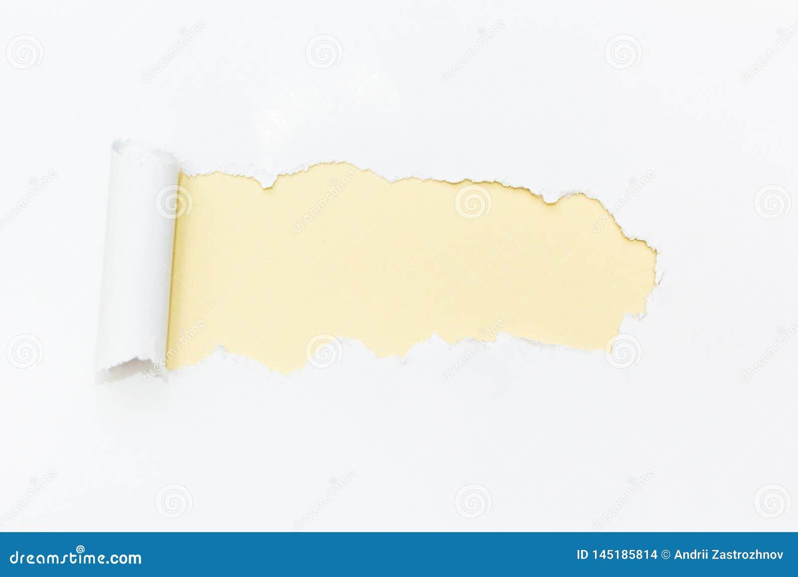 Foro giallo in Libro Bianco Spazio vuoto per testo