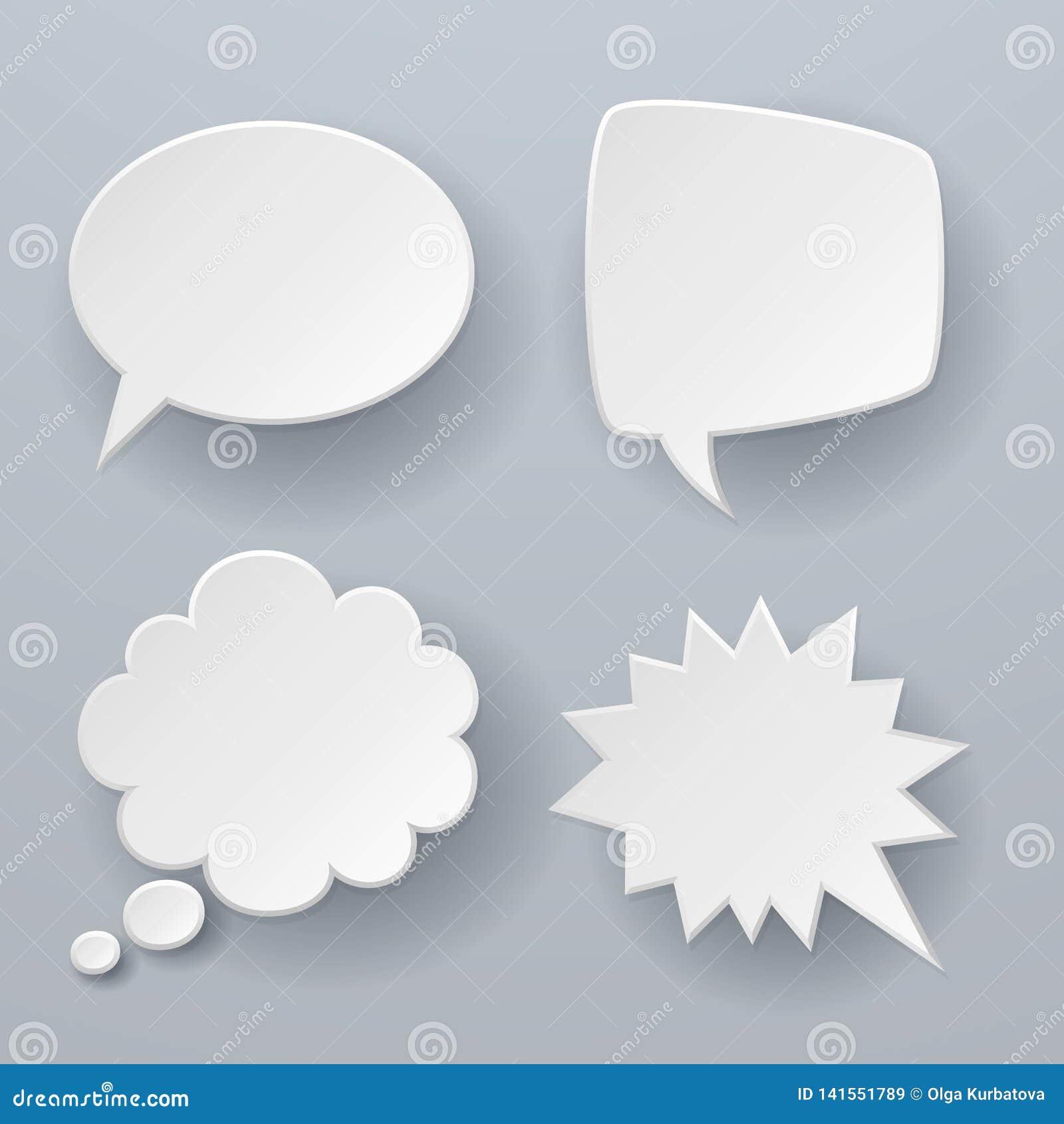 Forre bolhas do discurso As nuvens retros brancas do origâmi 3d pensaram o conceito do vetor do balão da mensagem de texto do bat