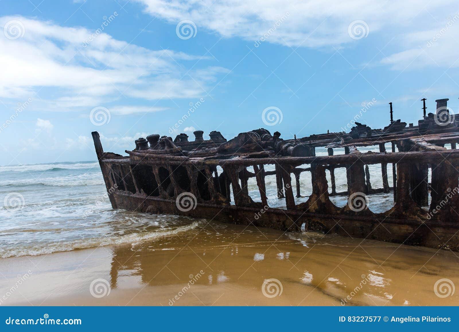 Forro Shipwrecked S S Maheno na costa de Fraser Island em Queensland, Austrália