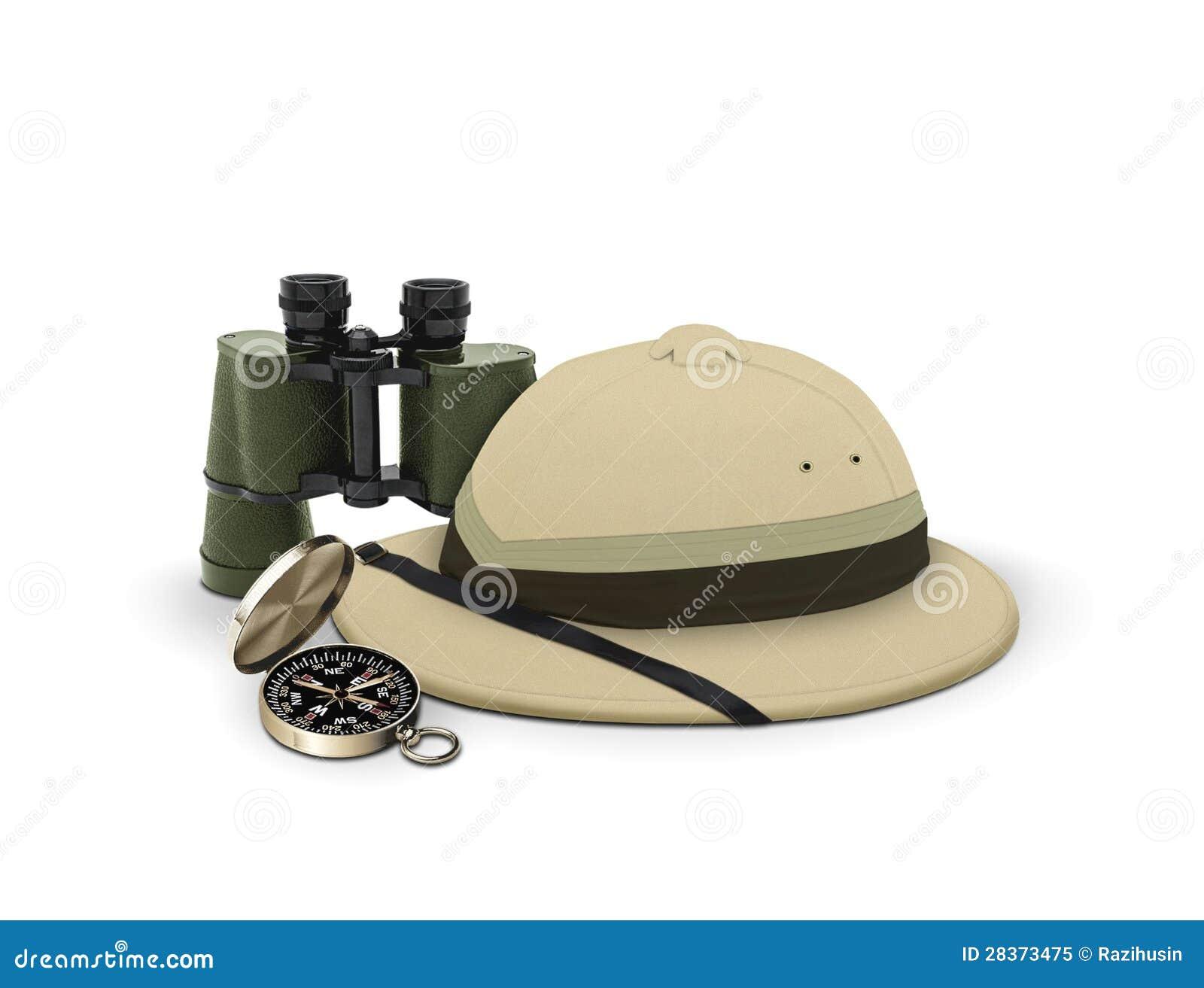 Forscherhut und -ausrüstung