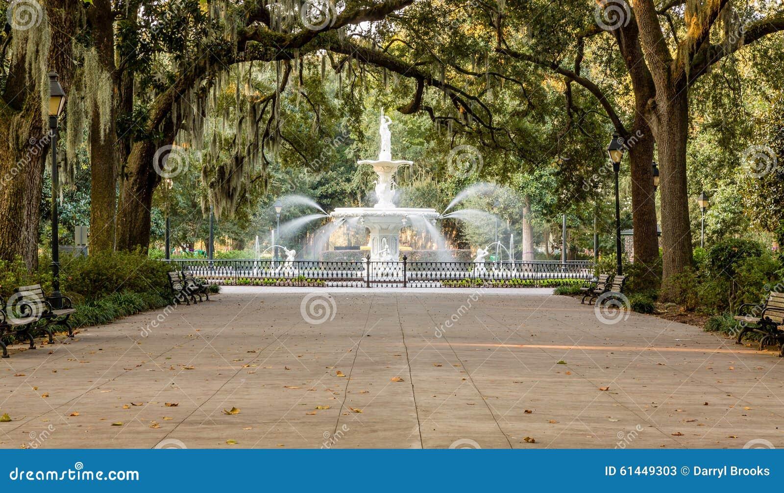 Forsyth Fountain Under Oaks