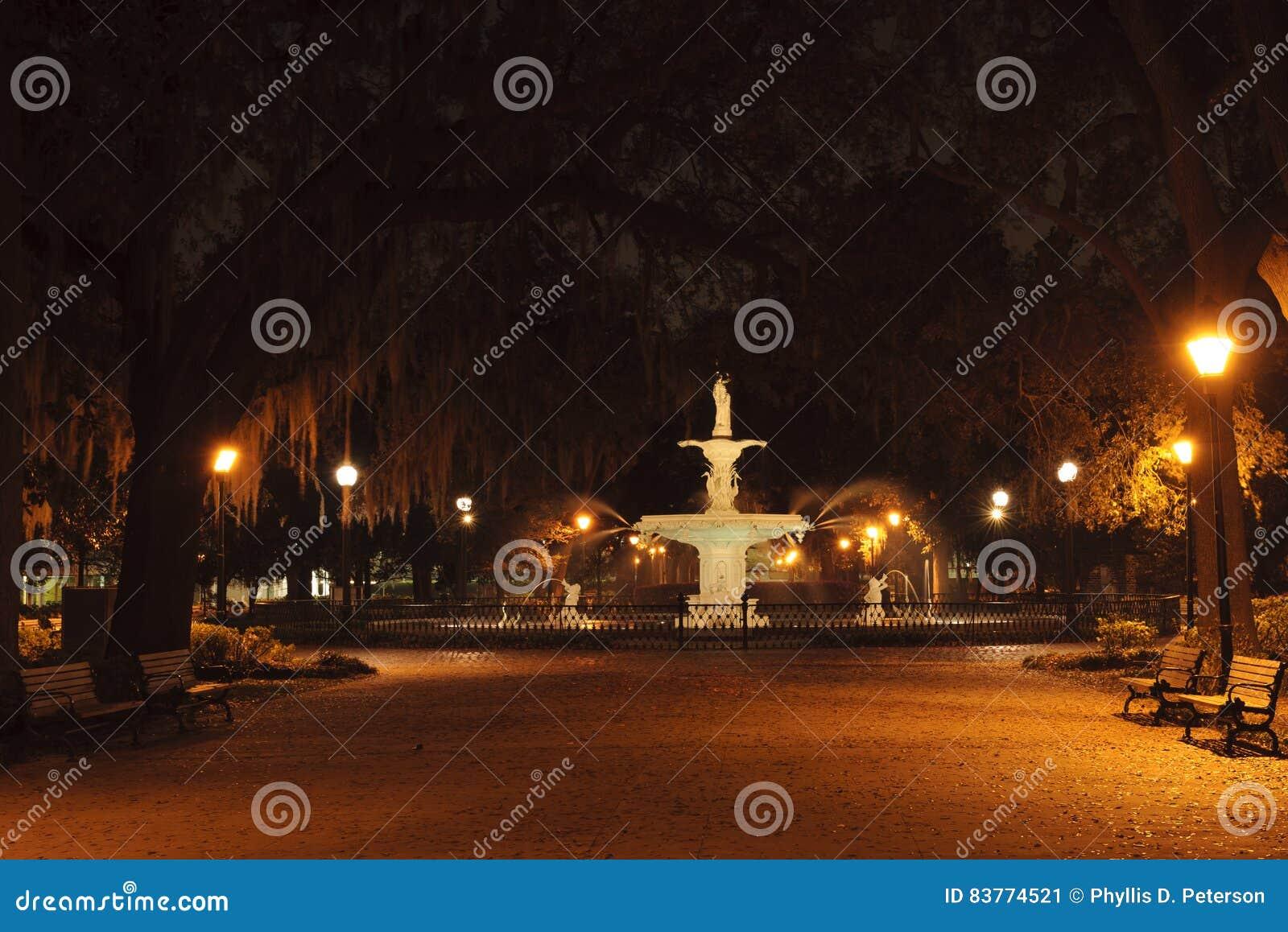 Forsyth Park Fountain at night in the city of Savannah, GA