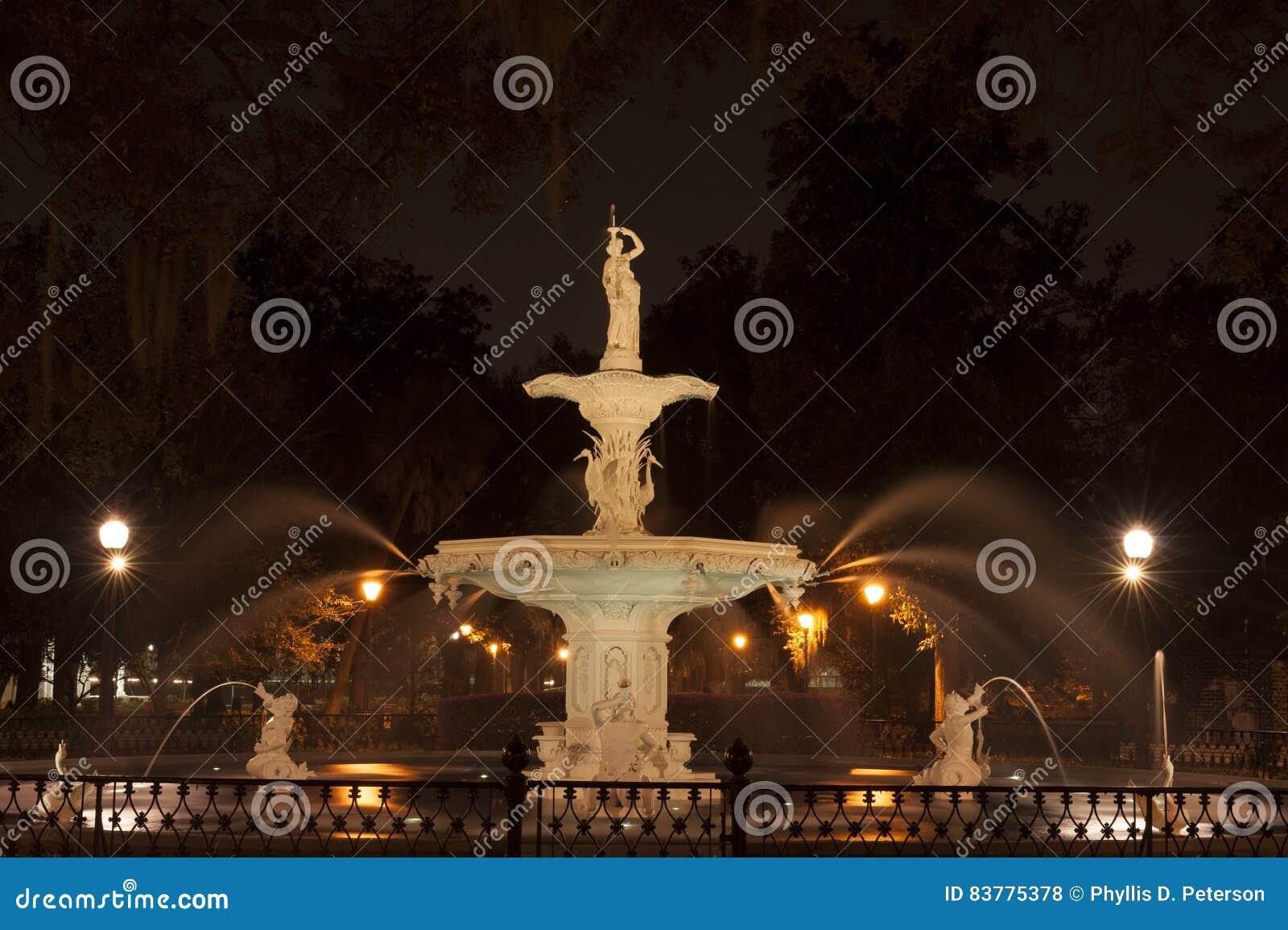Forsyth Park Fountain of Savannah, GA at night