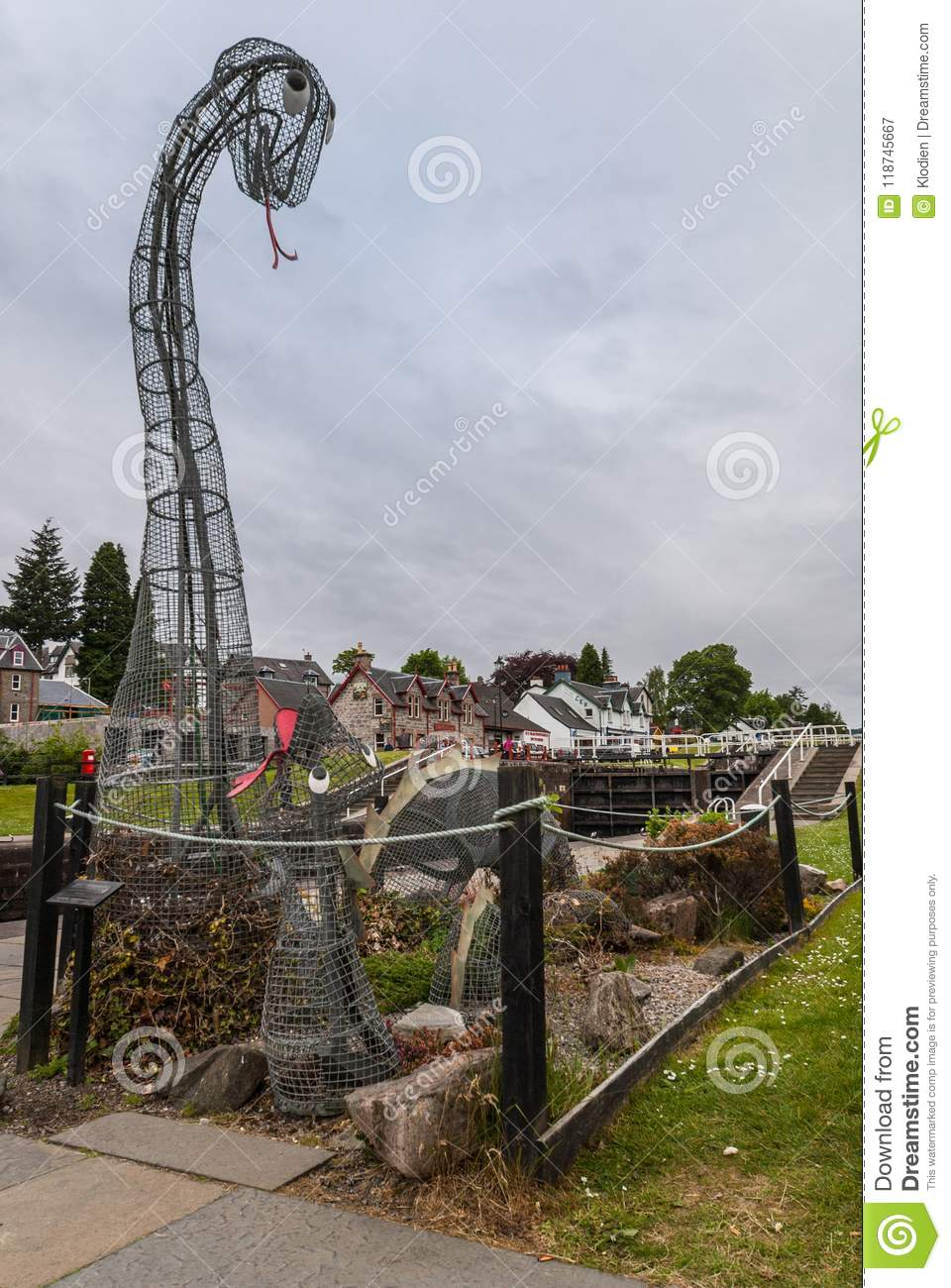 Nessie The Loch Ness Monster At Fort Augustus Scotland. Editorial ...