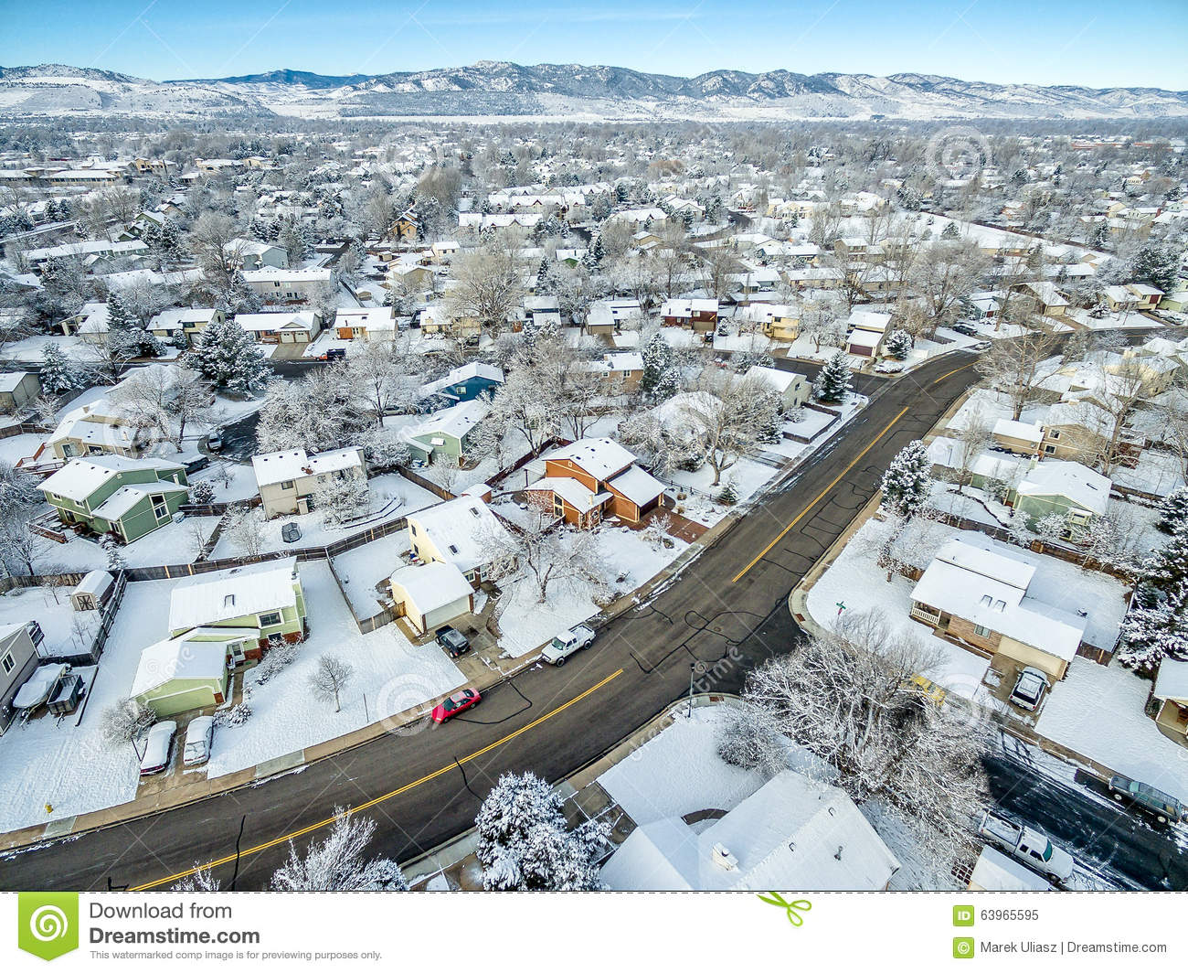 fort collins winter cityscape co usa december aerial view typical residential neighborhood along front range rocky mountains 63965595