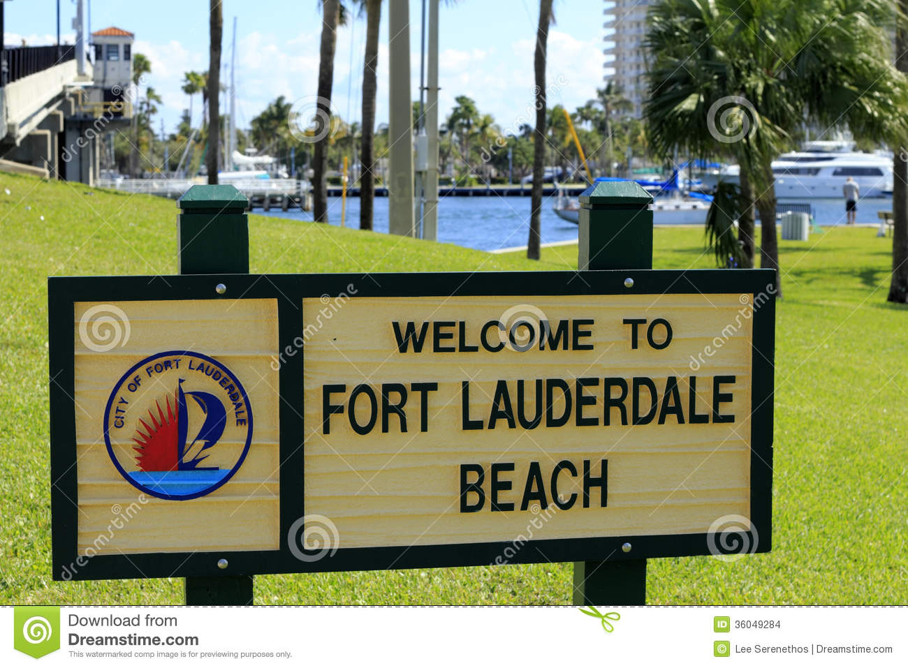 Fort Lauderdale Beach Welcome Sign Editorial Stock Image Image 36049284