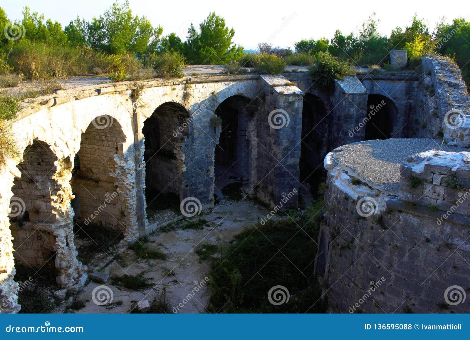 Fort na Monte Grosso budował w 1836 i lokalizuje blisko do Pula, Chorwacja