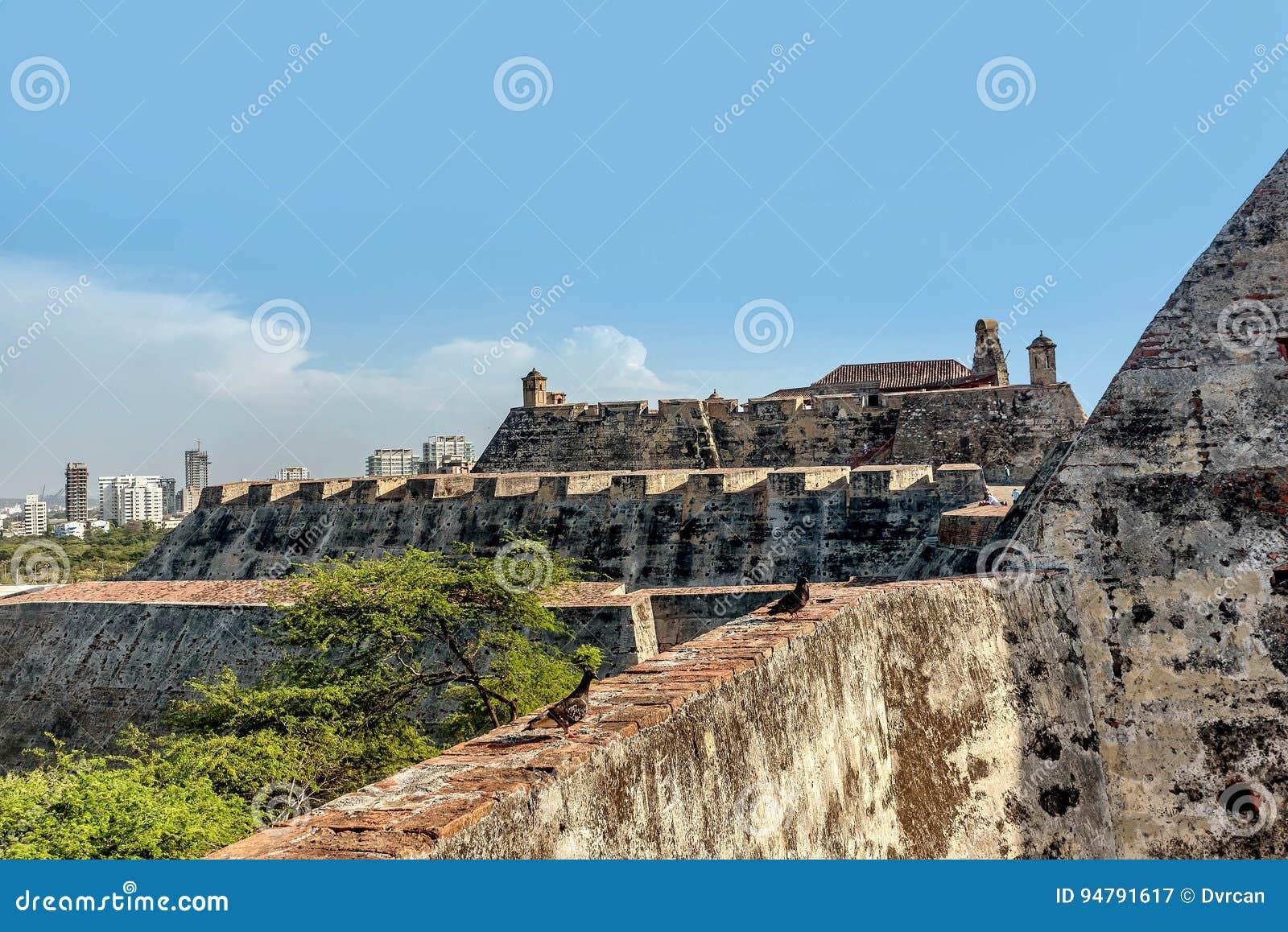 Fort San Felipe i den gamla staden Cartagena, Colombia