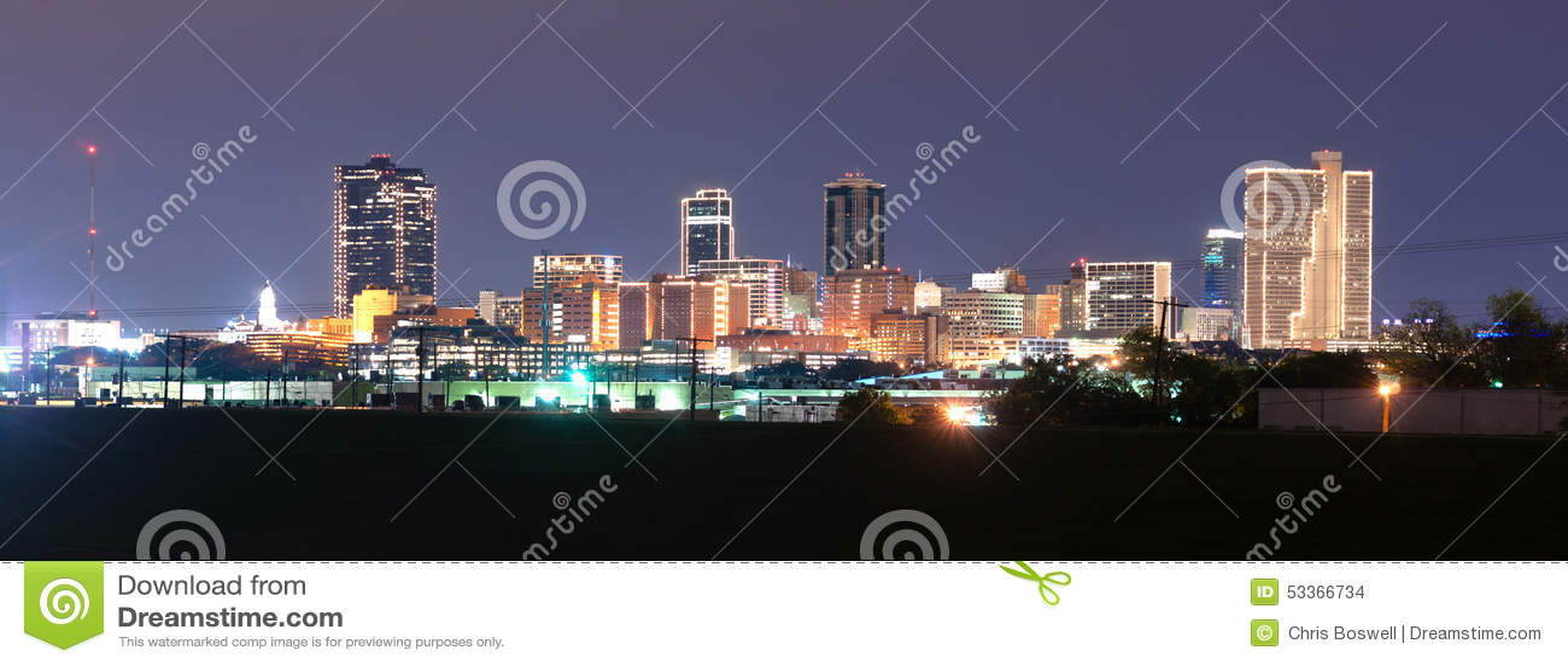 Fort Worth Texas Downtown Skyline Trinity River Spät-