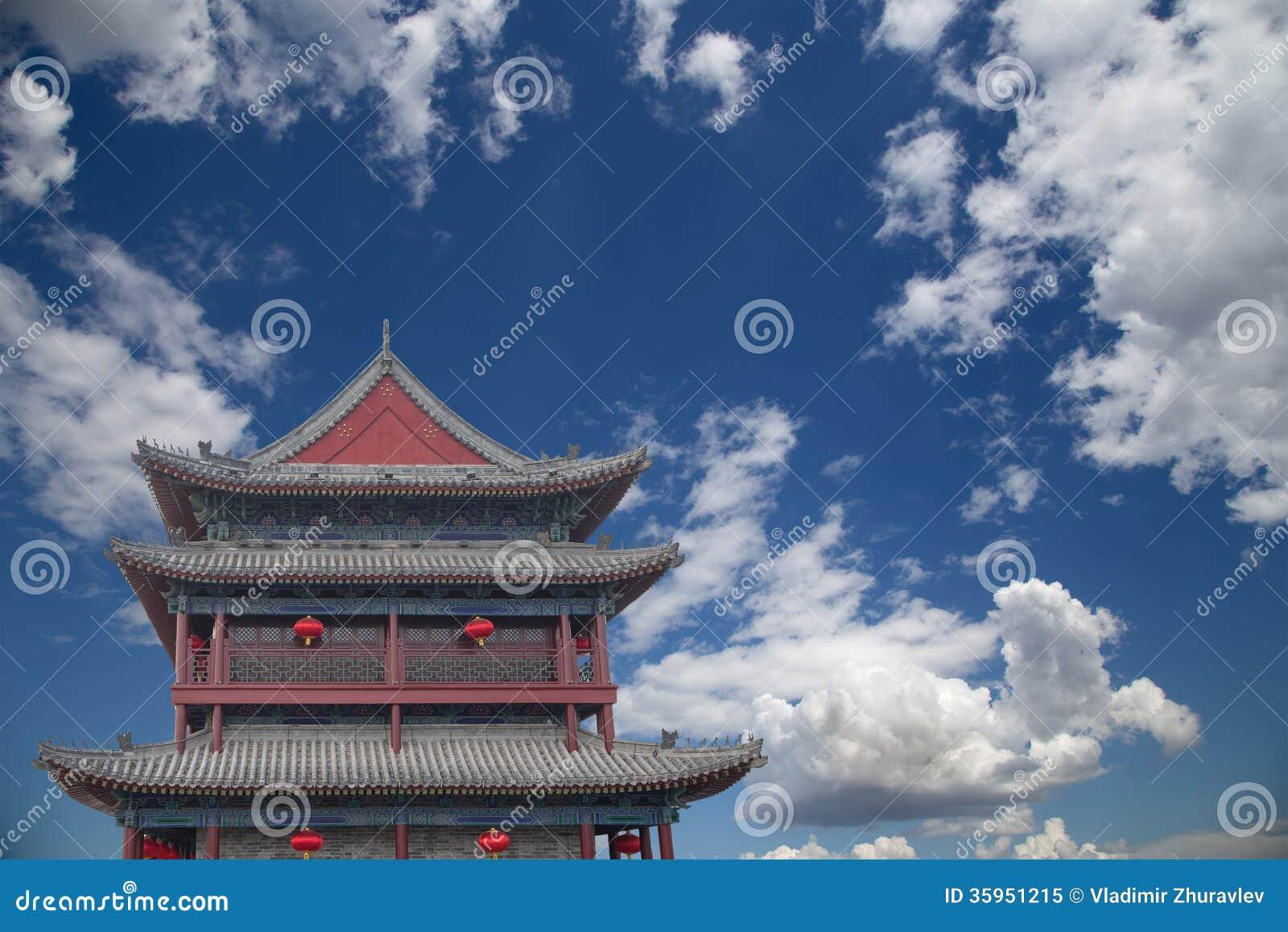 Fortalecimientos de Xian (Sian, Xi an) una capital antigua de China