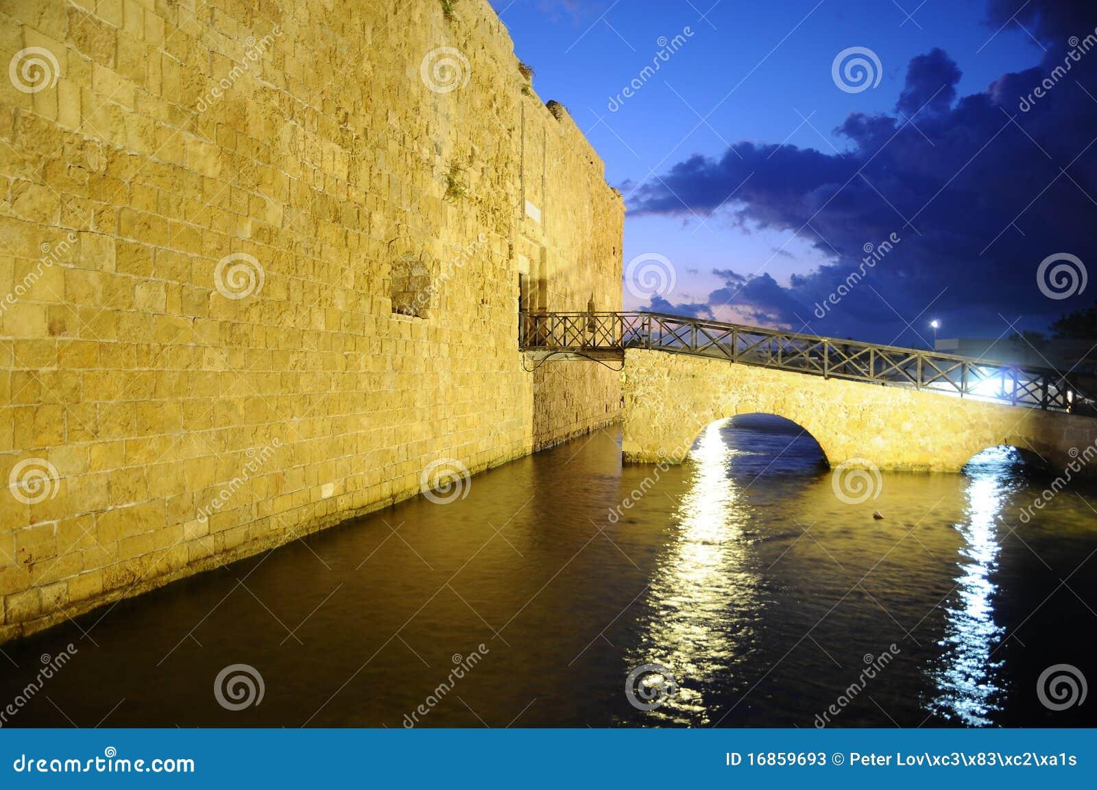 Forte de Paphos na noite