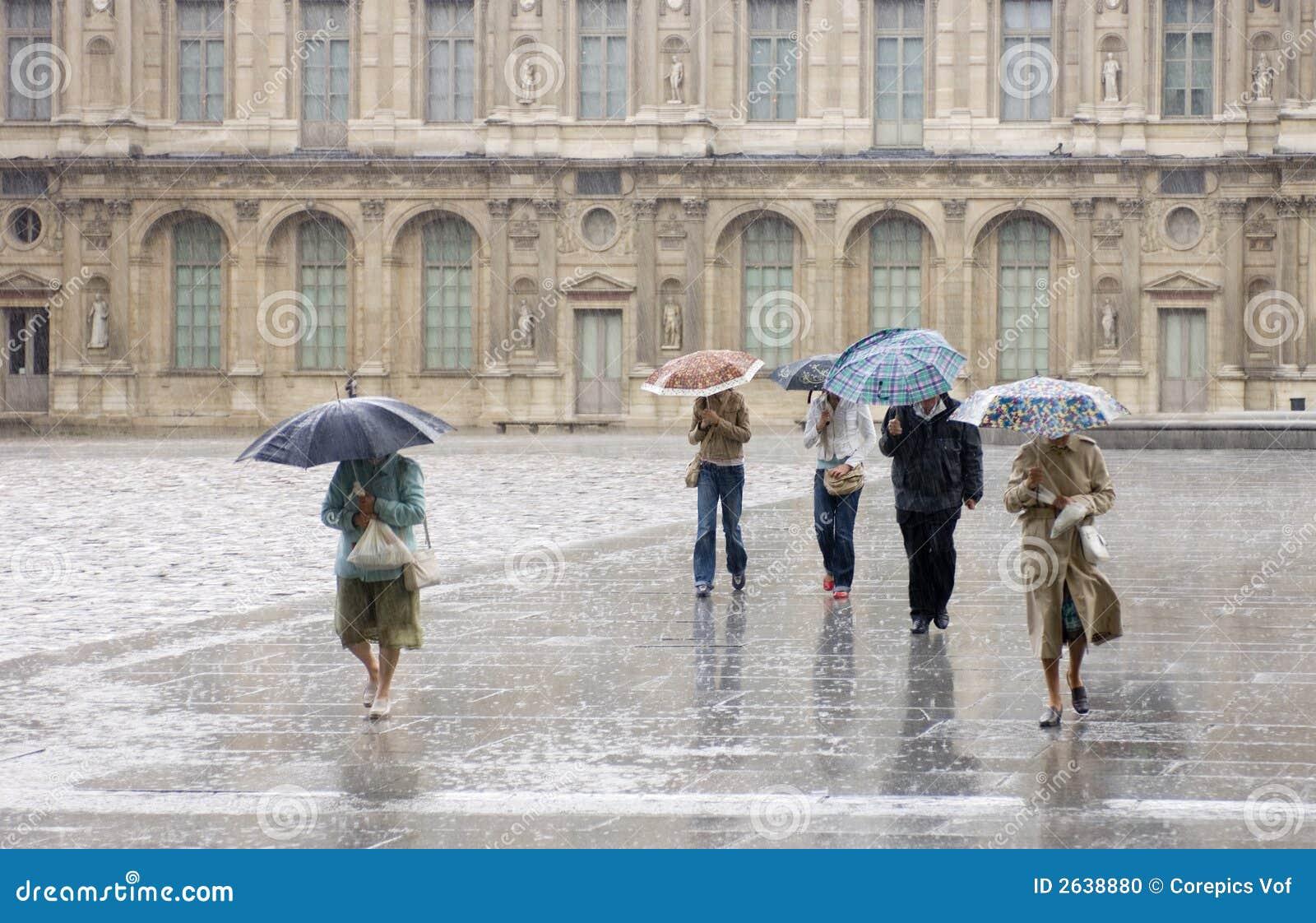Forte pluie à l auvent