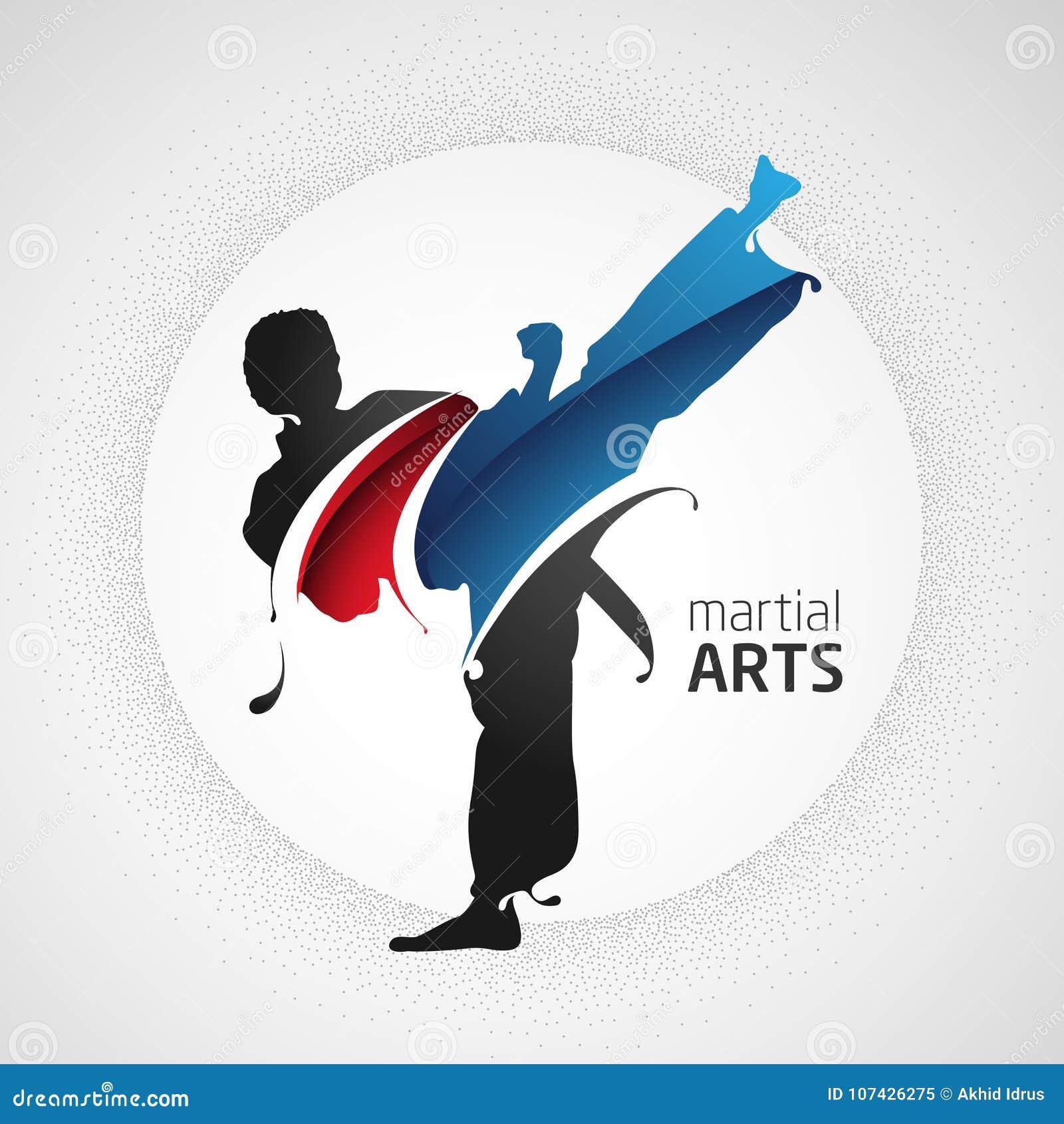 Forte siluetta di scossa di arti marziali