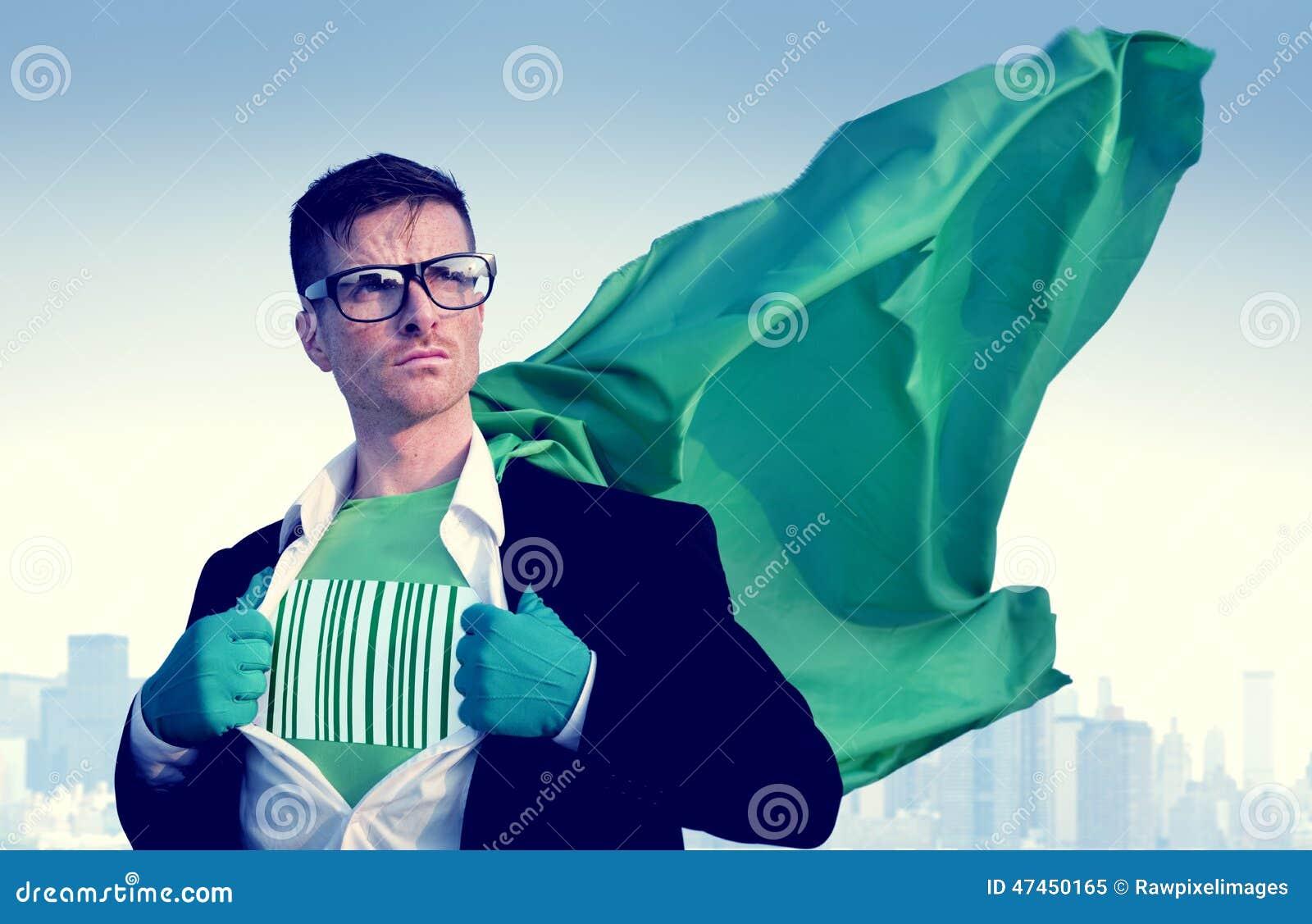 Forte uomo d affari Success Empowerment Concept del supereroe del codice a barre