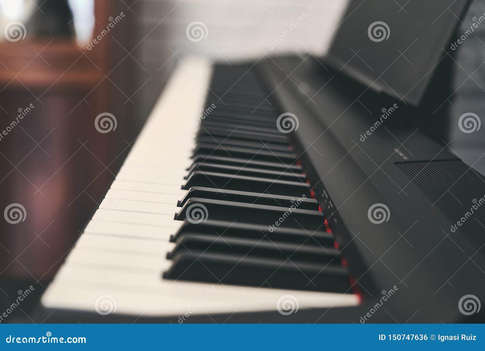 Fortepianowa klawiatura zamknięta w górę fotografii