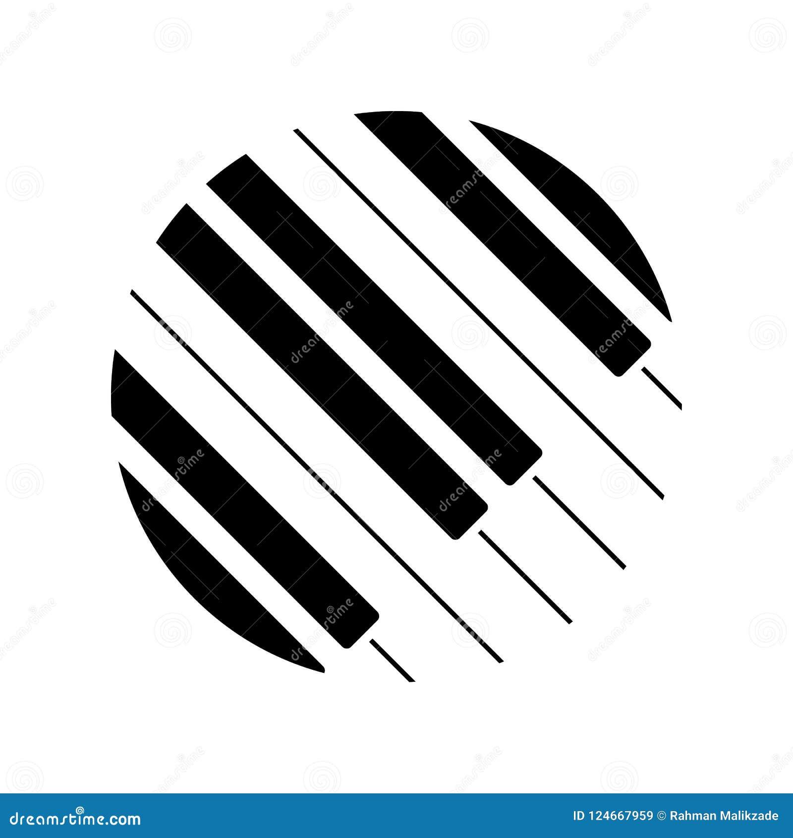 Fortepianowej klawiatury logo również zwrócić corel ilustracji wektora