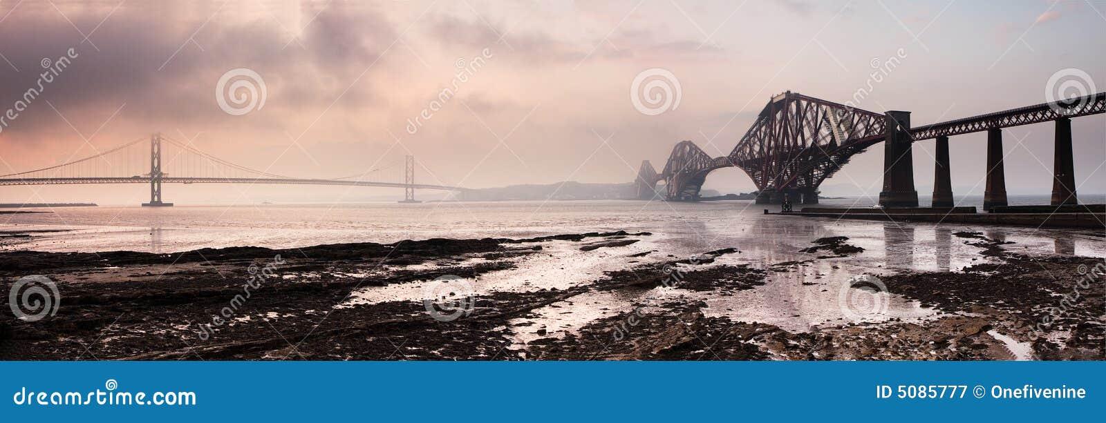 Forth Bridges Panorama Sunset