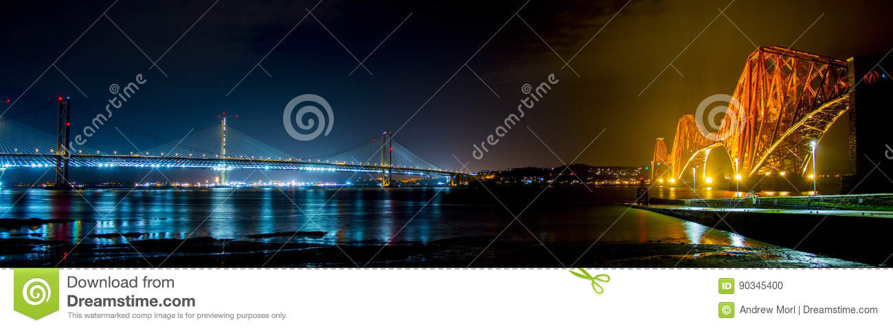 Forth Rail Bridge and Queensferry Crossing at night