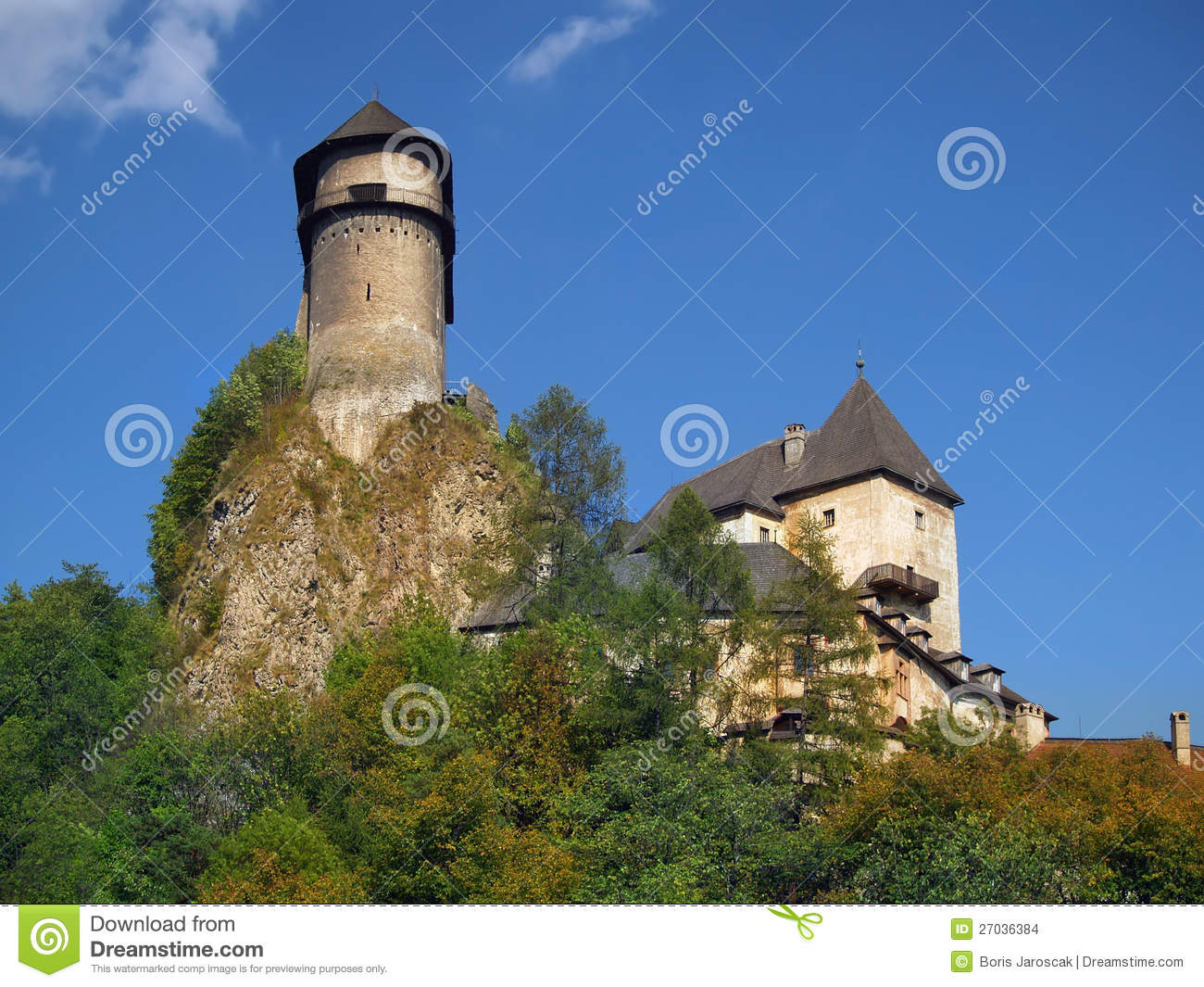 Fortification of Orava Castle on the high rock