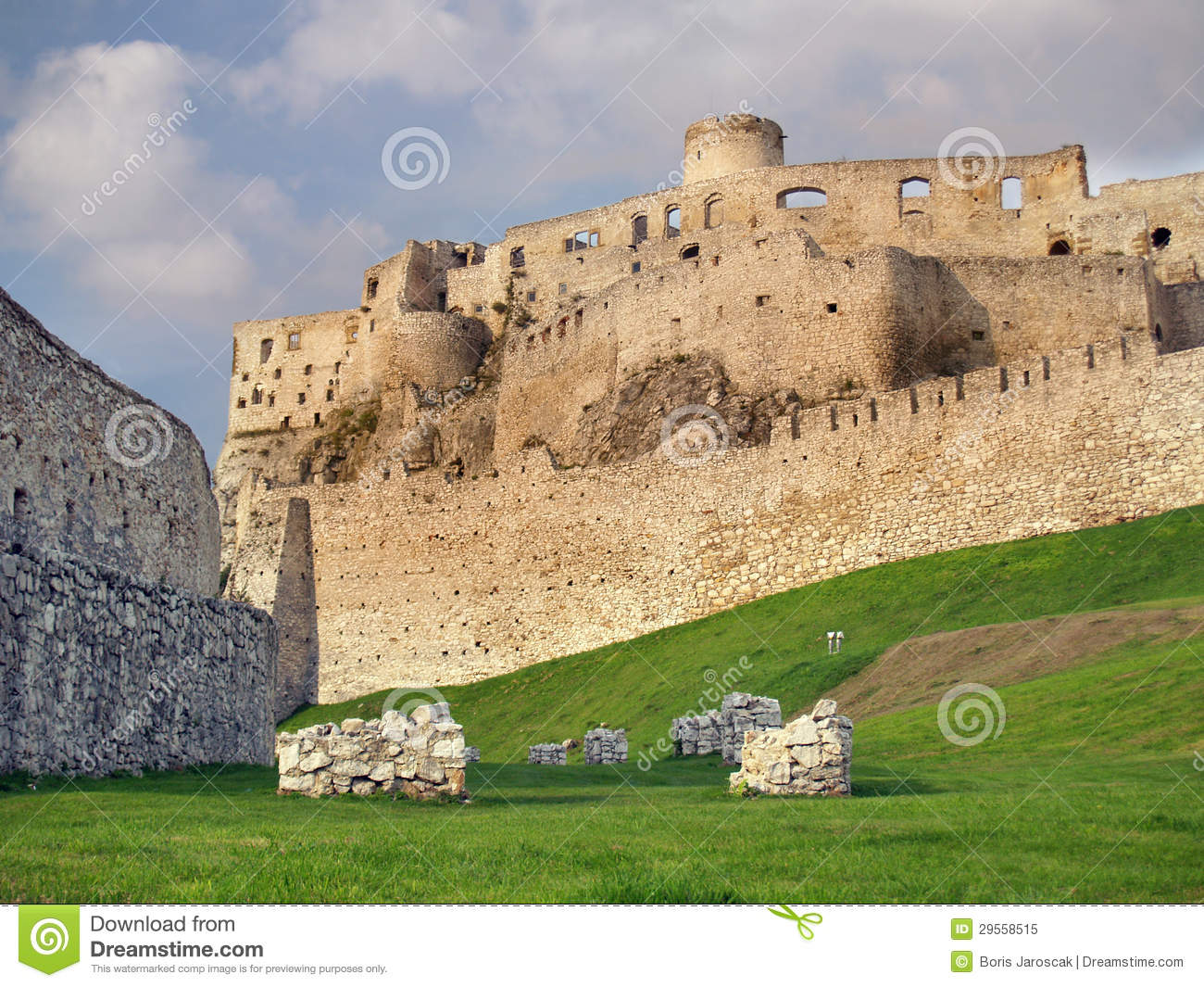Fortification of Spissky Castle before sundown