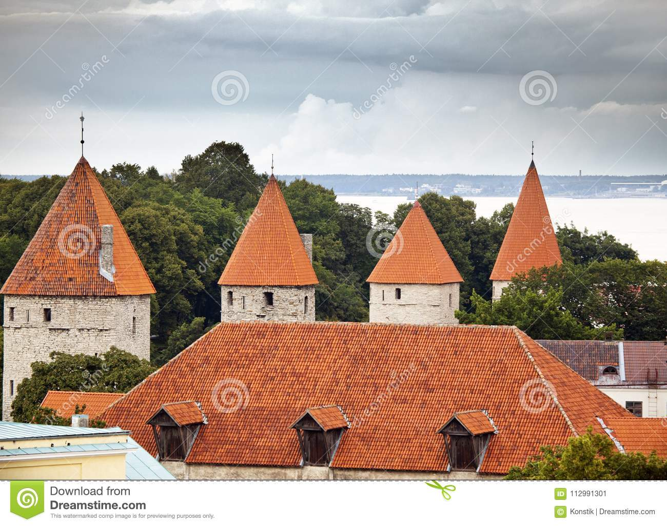 Fortification towers, top view. Tallinn. Estonia