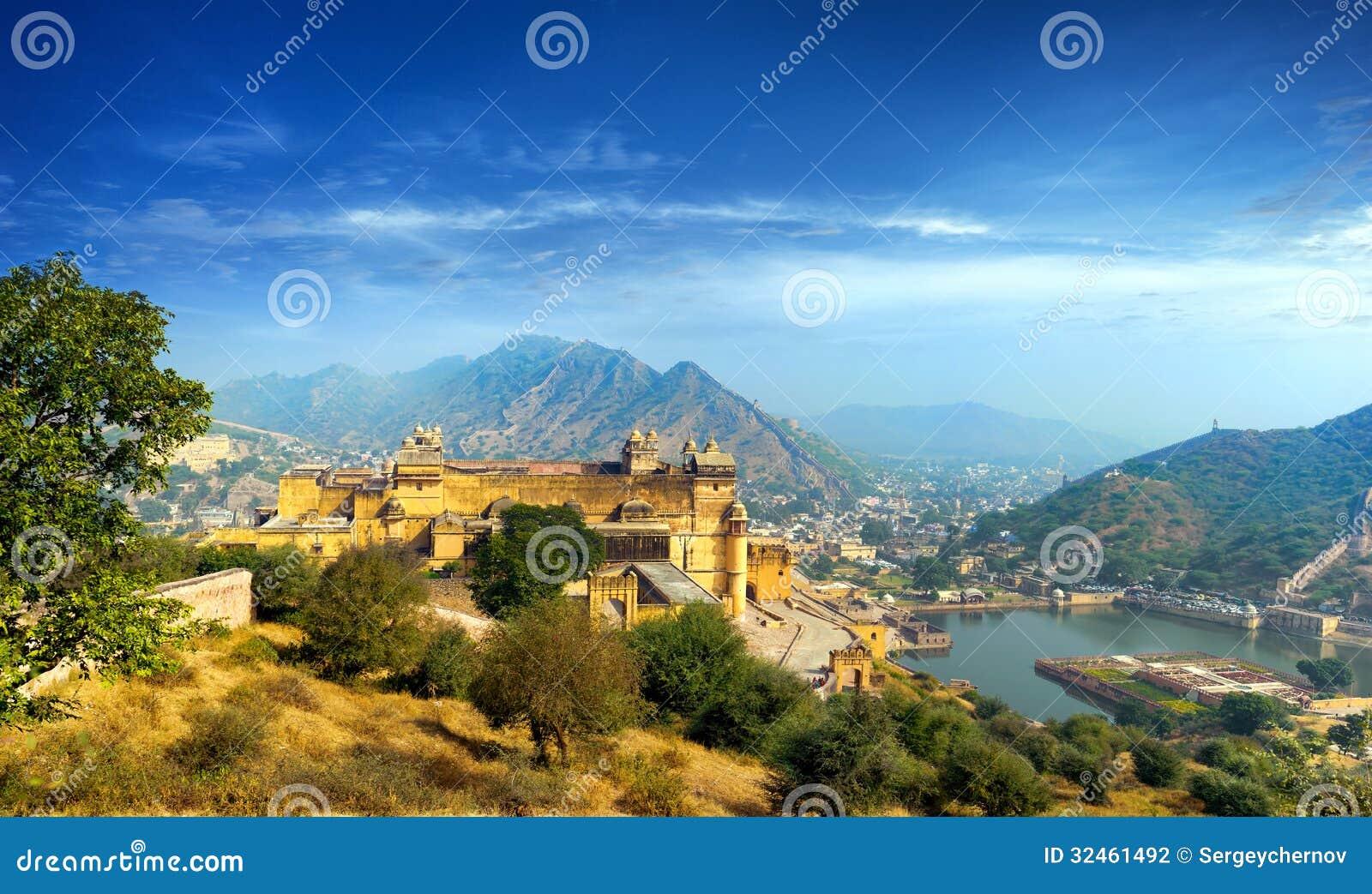 Fortificazione ambrata dell India Jaipur nel Ragiastan
