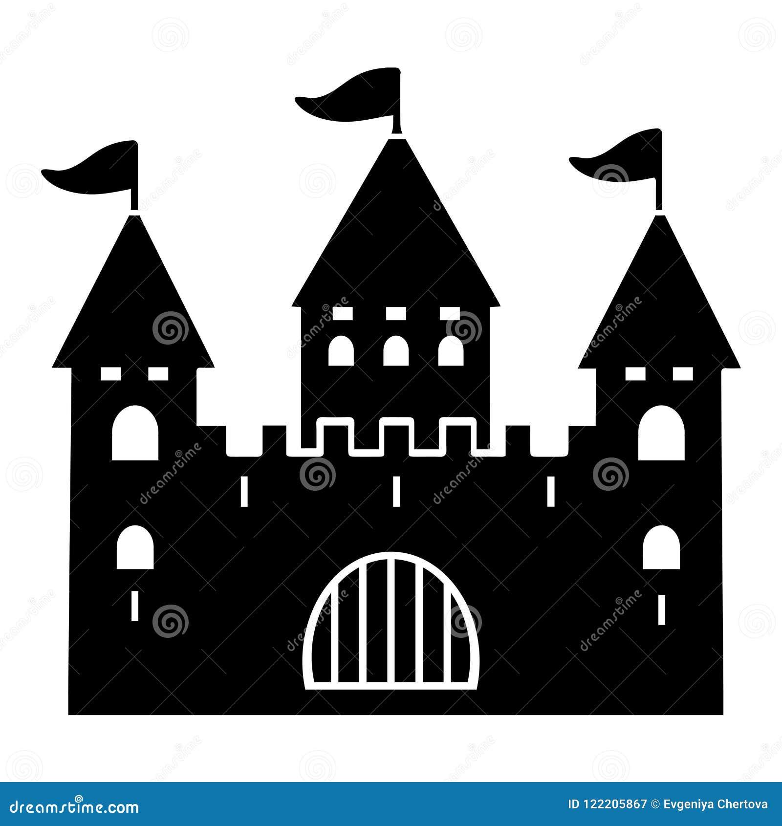 Fortifichi la siluetta, l icona piana, il logo, il profilo, il contorno, l illustrazione di vettore, disegno in bianco e nero Pal