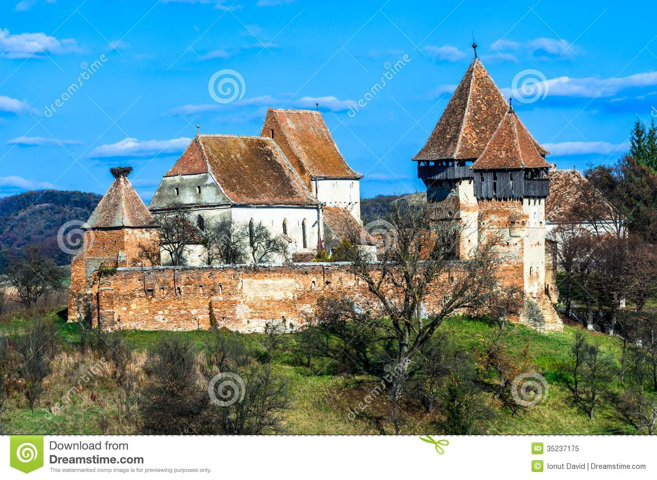 Fortified church of alma vii stock image image 35237175 - Saxon style houses in transylvania ...