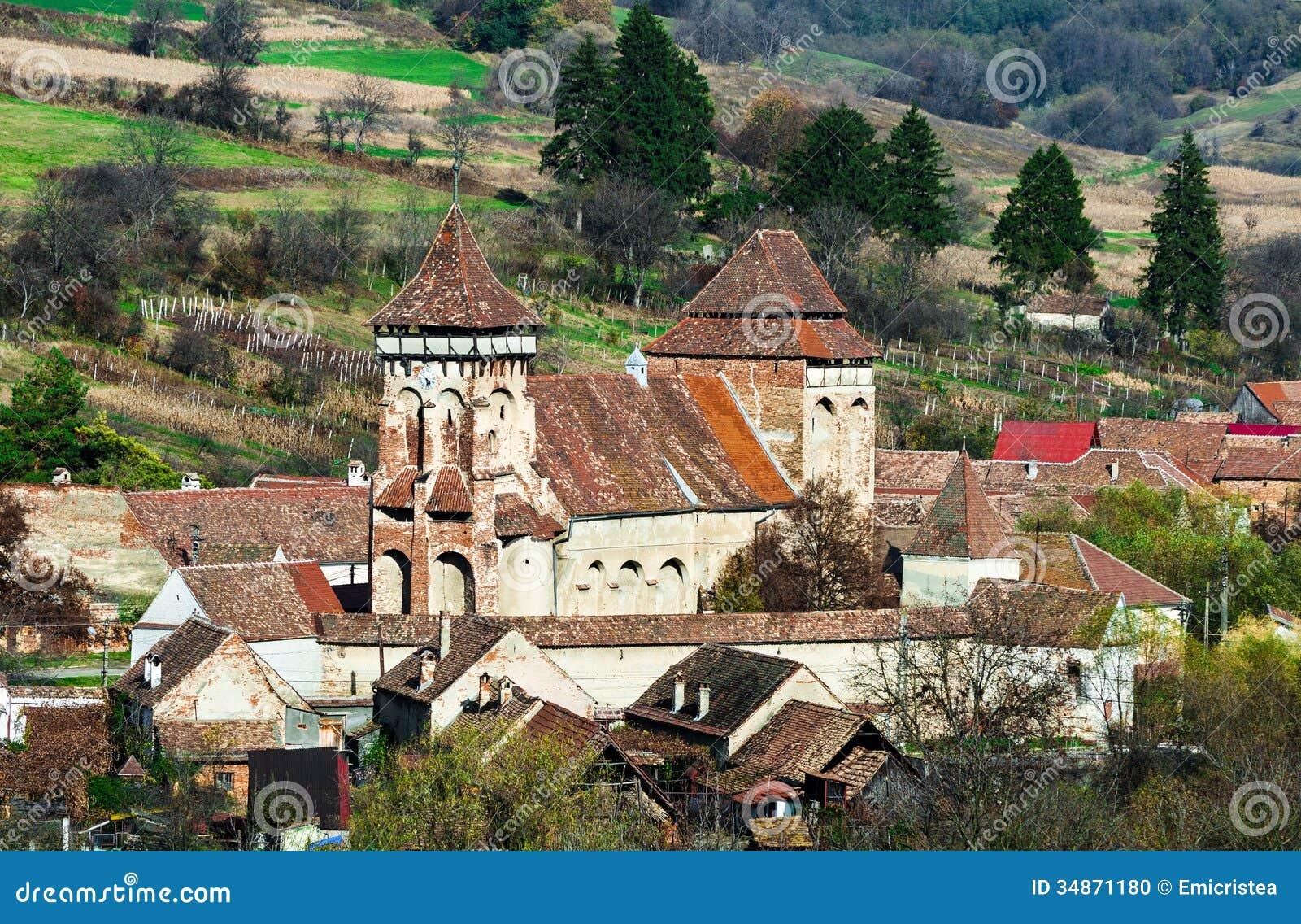 Fortified church of valea viilor transylvania landmark in roman stock photo image 34871180 - Saxon style houses in transylvania ...