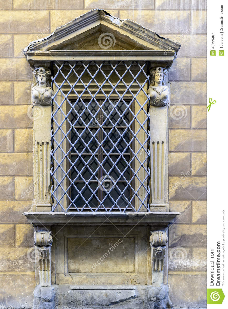 Fortified sandstone window with carvings stock photo for Fortified house plans