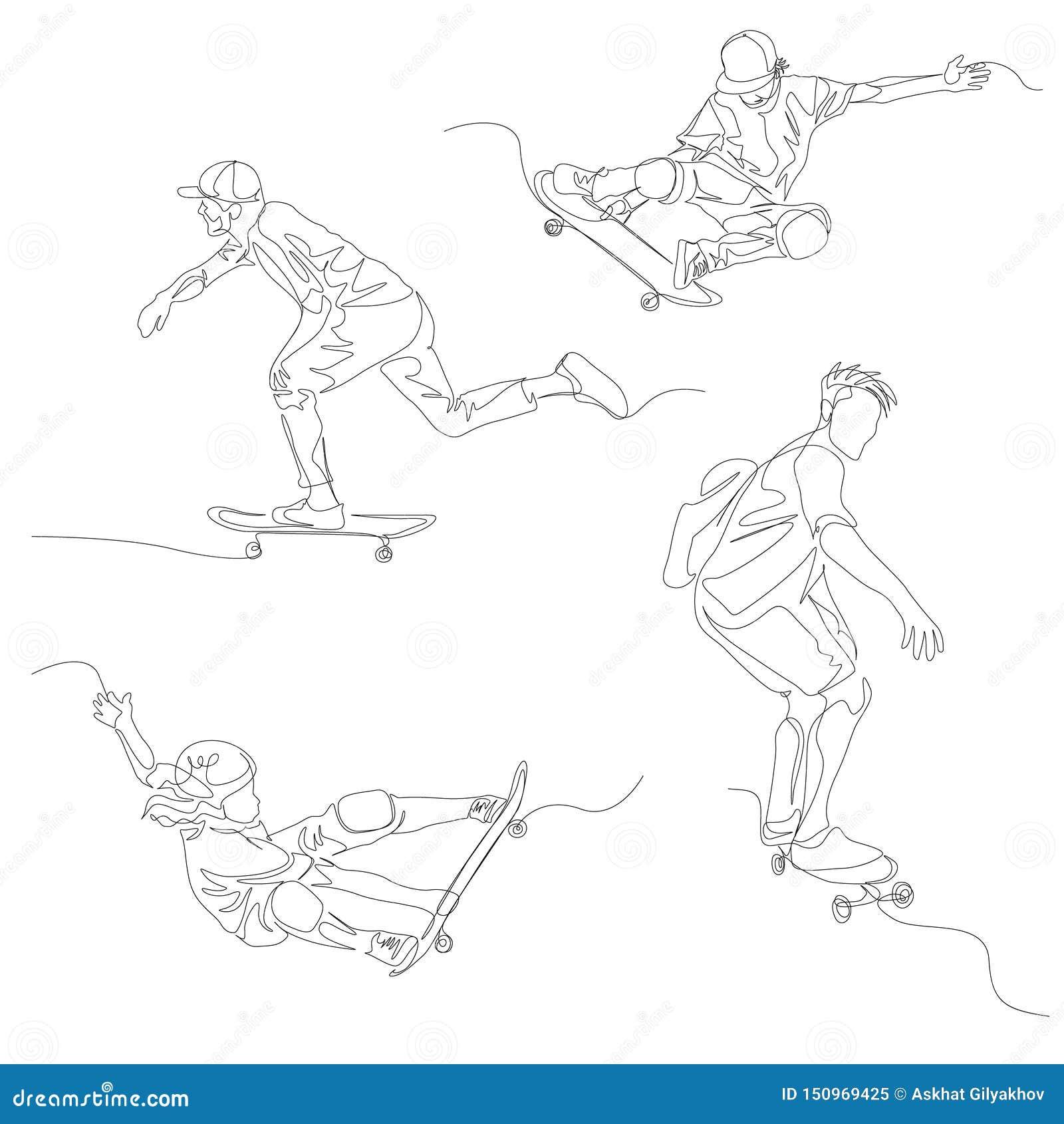 Fortlöpande en linje skateboradåkareuppsättning Skateboarding sommarOS vektor