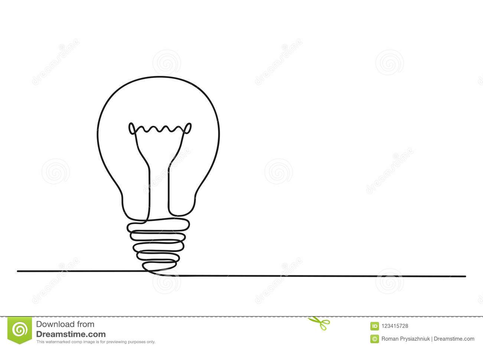 Fortlöpande en linje teckning av elljuskulan Begrepp av idéuppkomst vektor