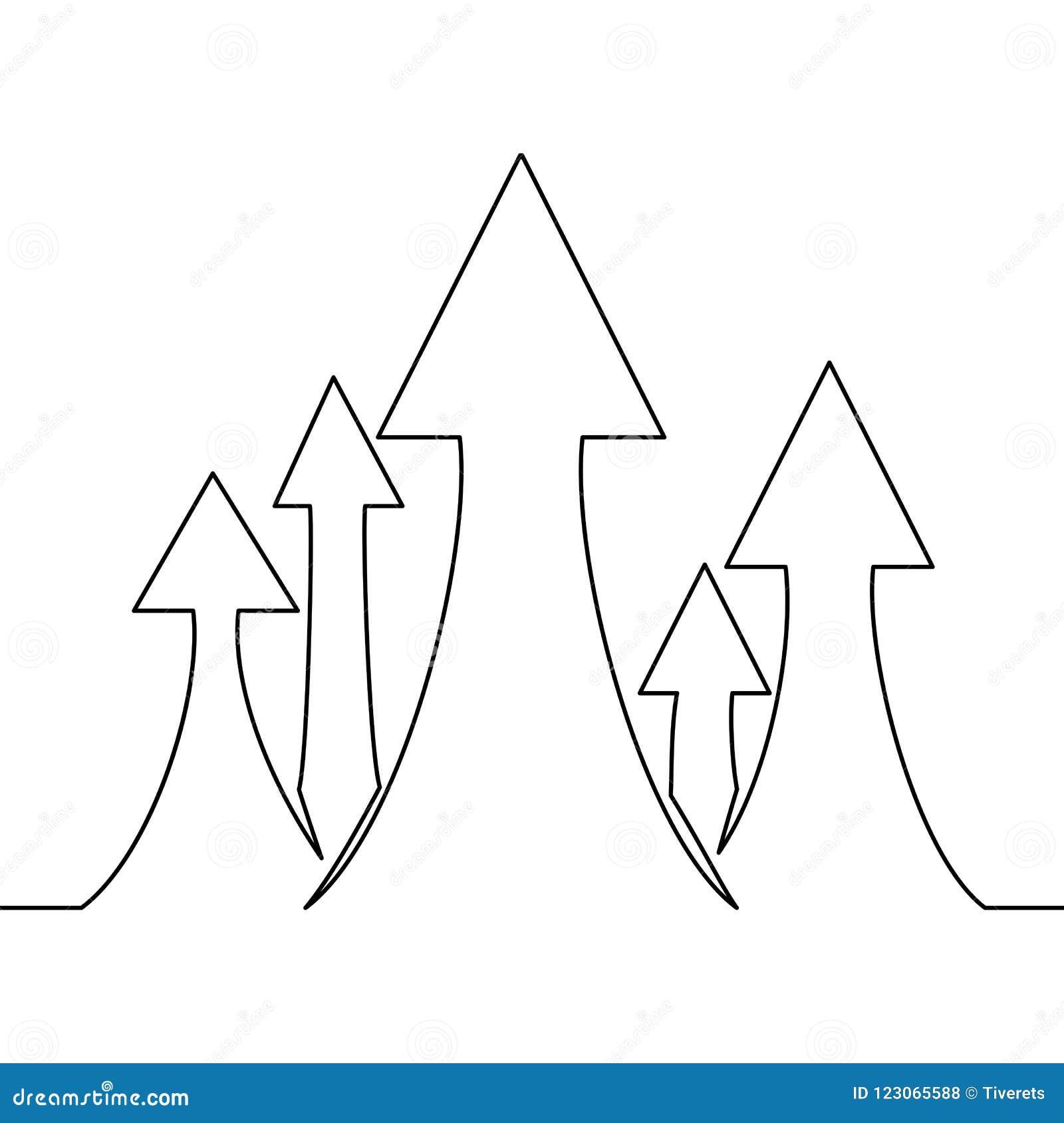 Fortlöpande en linje teckning av pilteckentillväxt