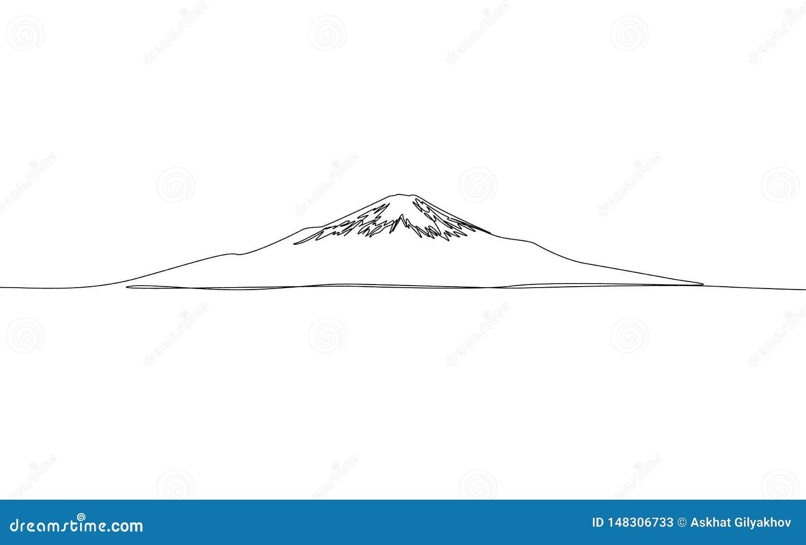 Fortlöpande en linje teckning Fuji, vektor japan